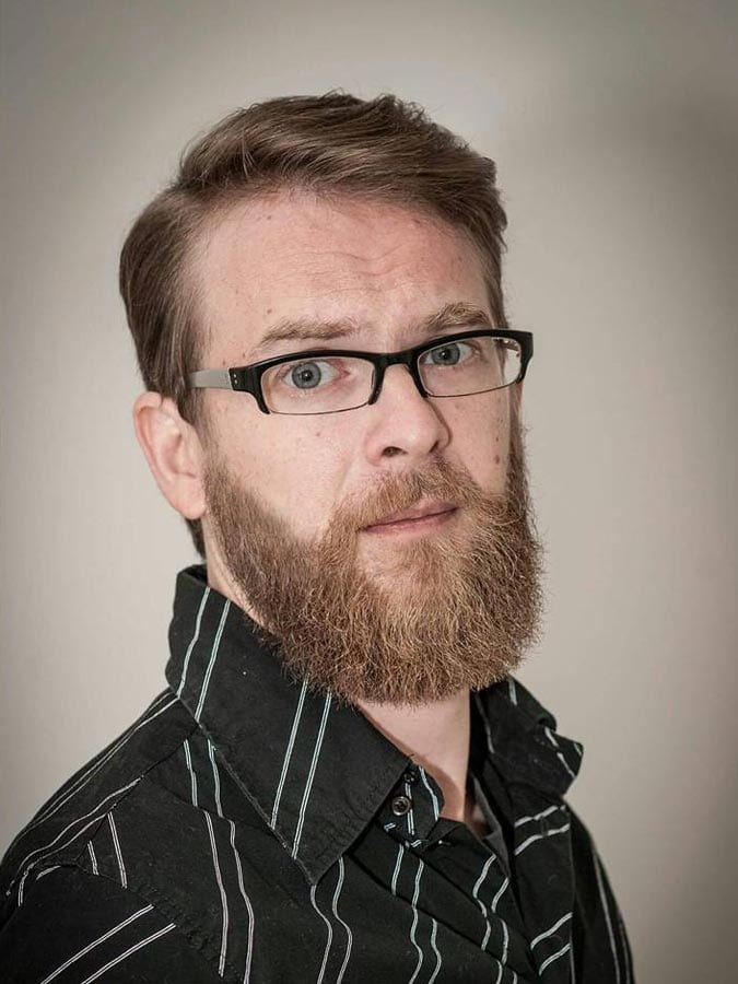 Side Swept Elegant Glasses and Beard