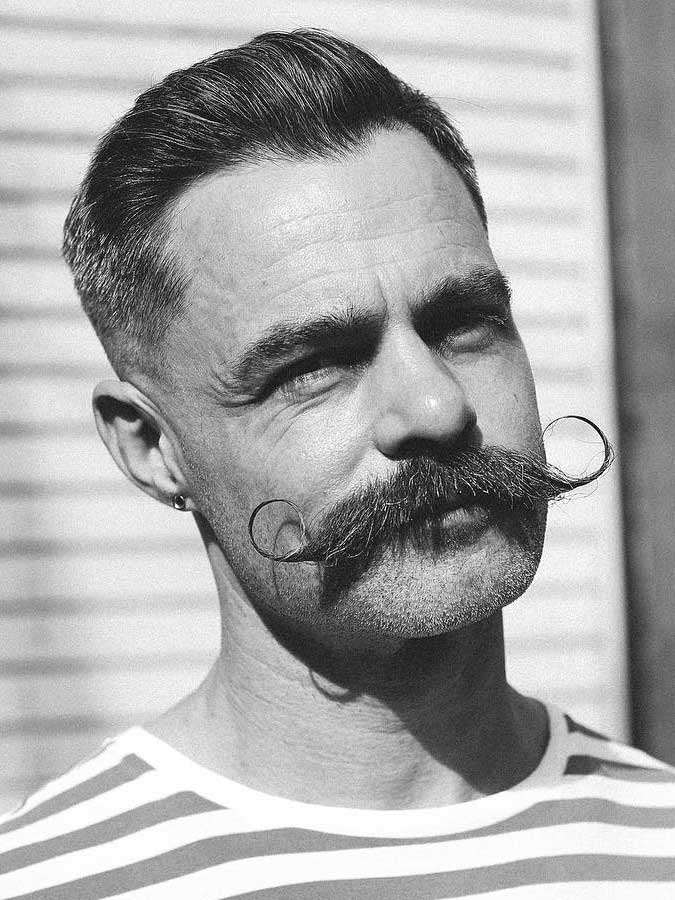 Pomped Slicked Back with Moustache