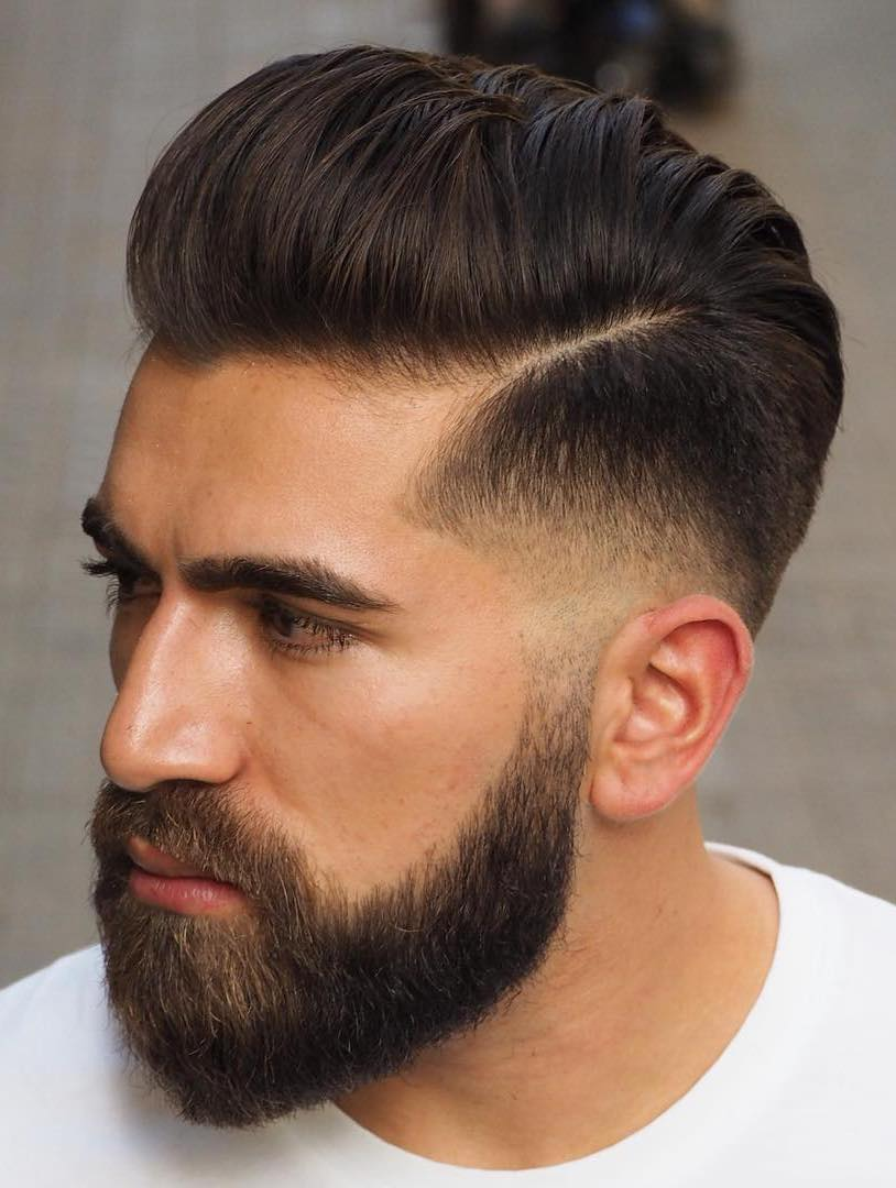 Almost Slicked Back with Temple Fade