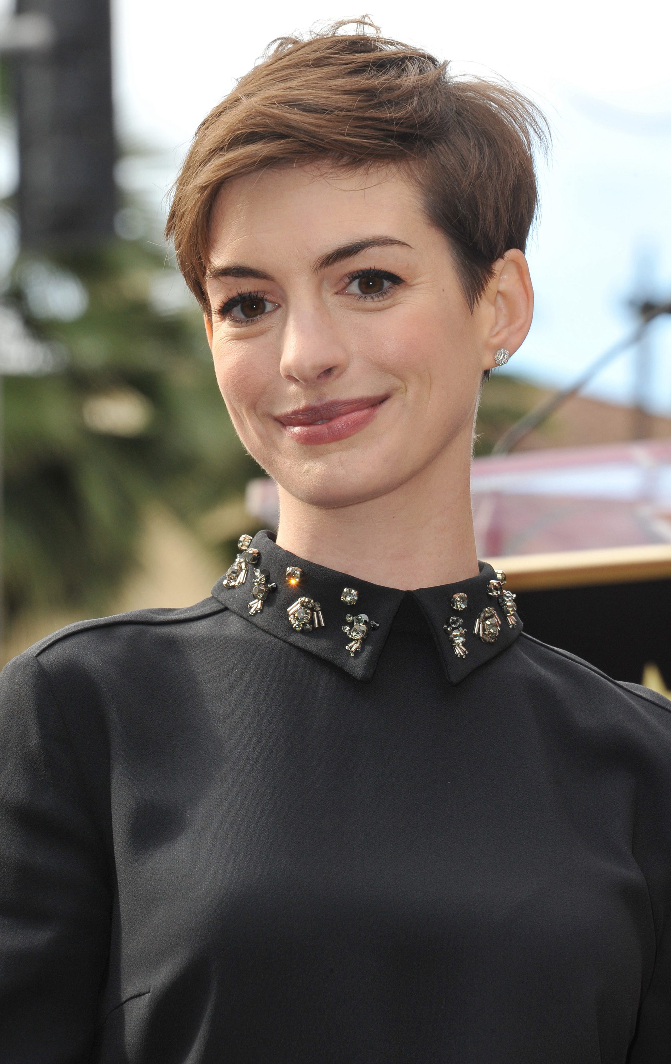 Anne Hathaway with Her Subtle Side Part Charm