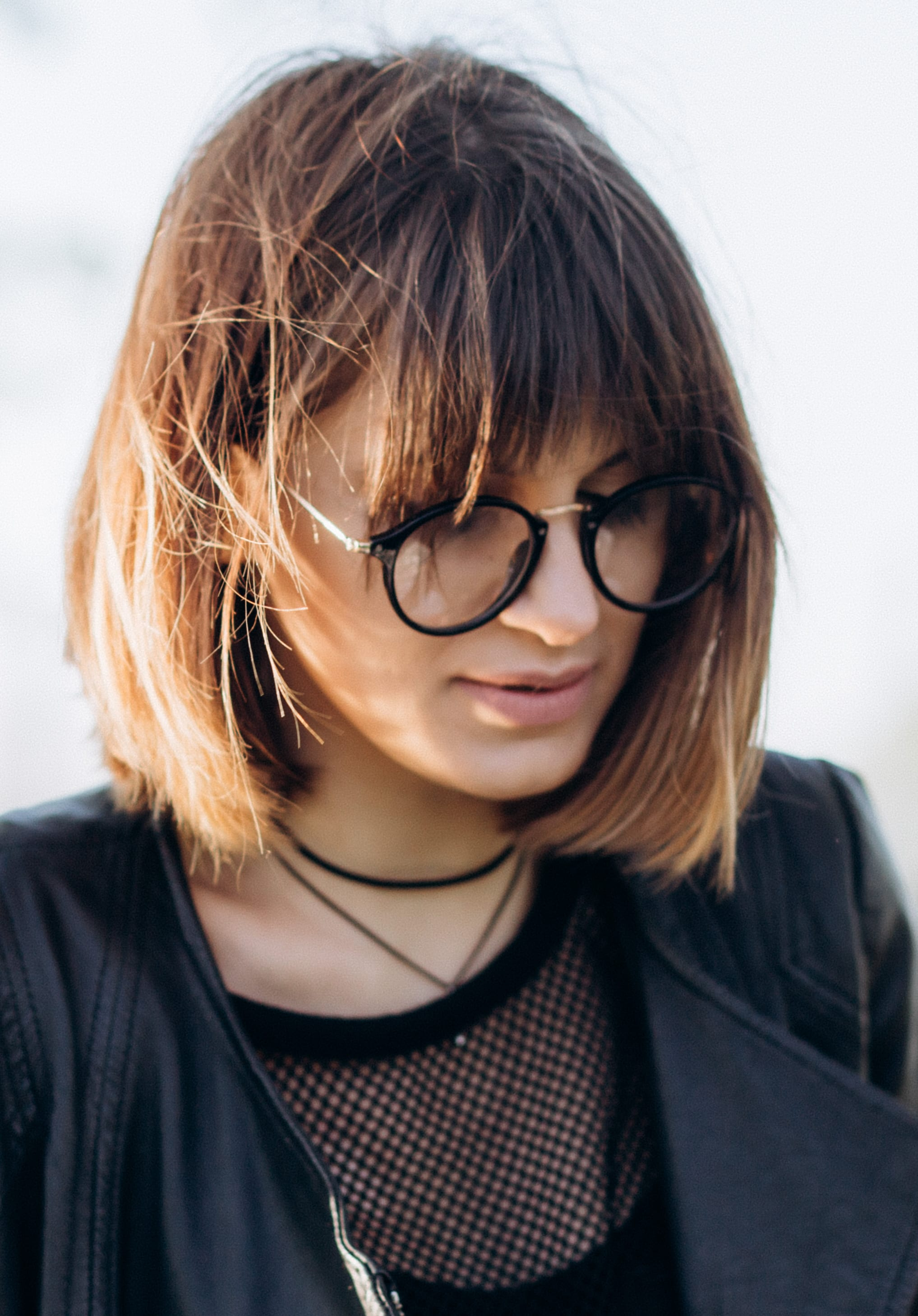 Balayage on Bob with Choppy Bangs