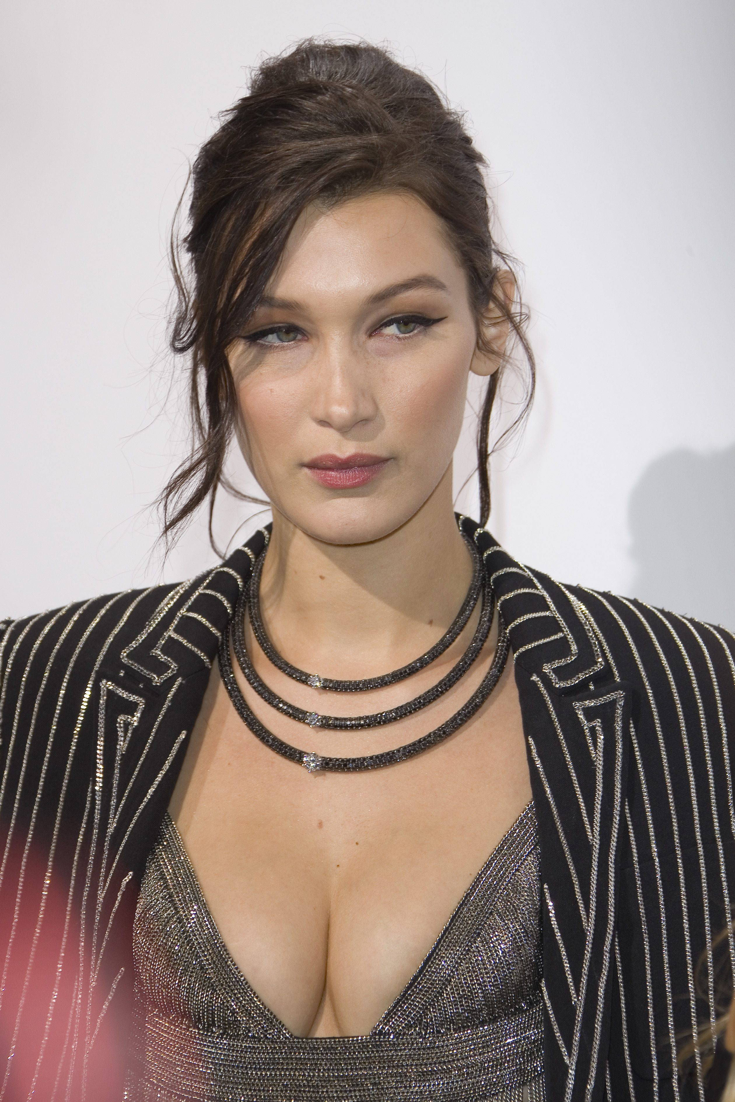 Bella Hadid's Messy Updo With Side Bangs