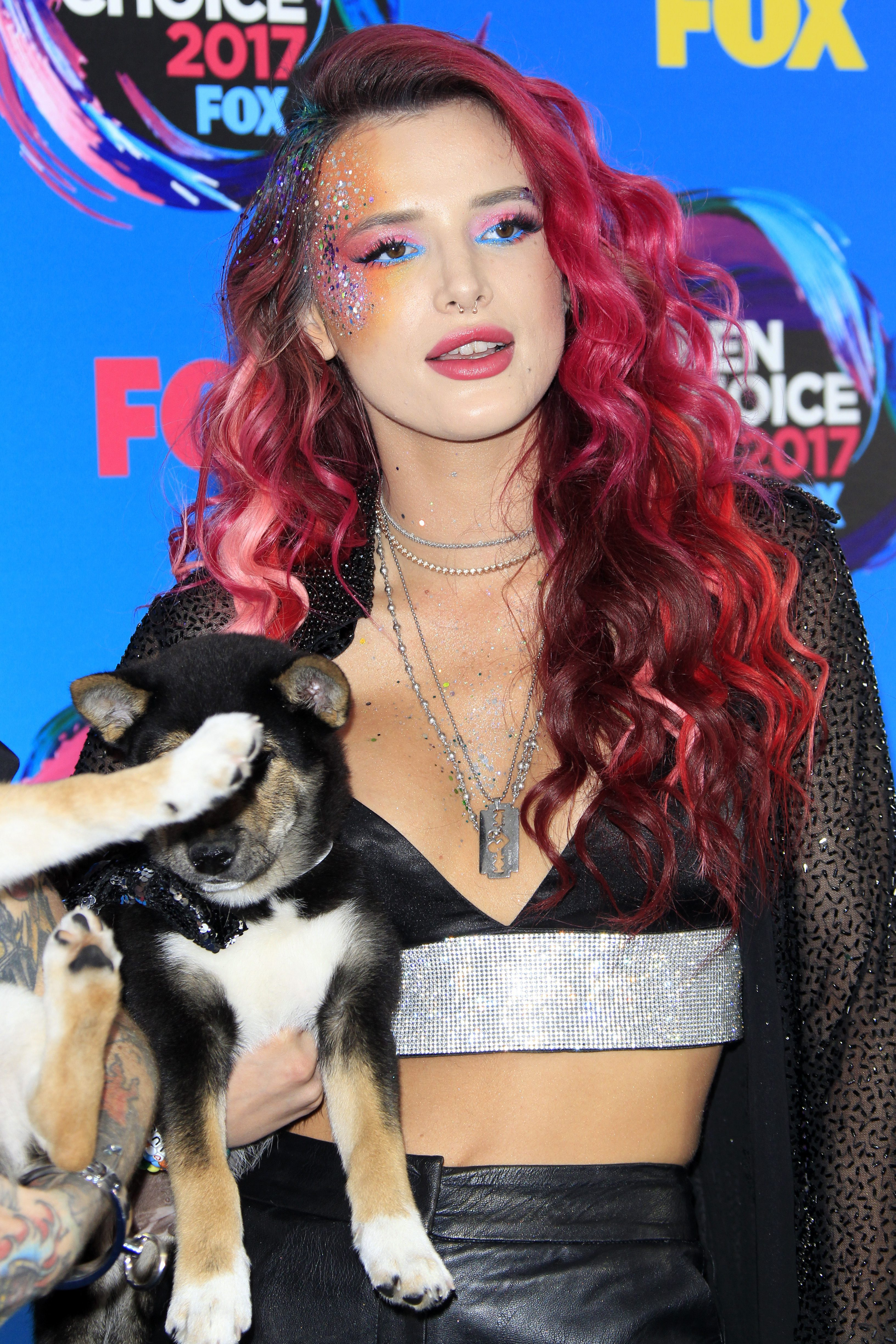 Bella Thorne's Red Hair with Purple Highlights