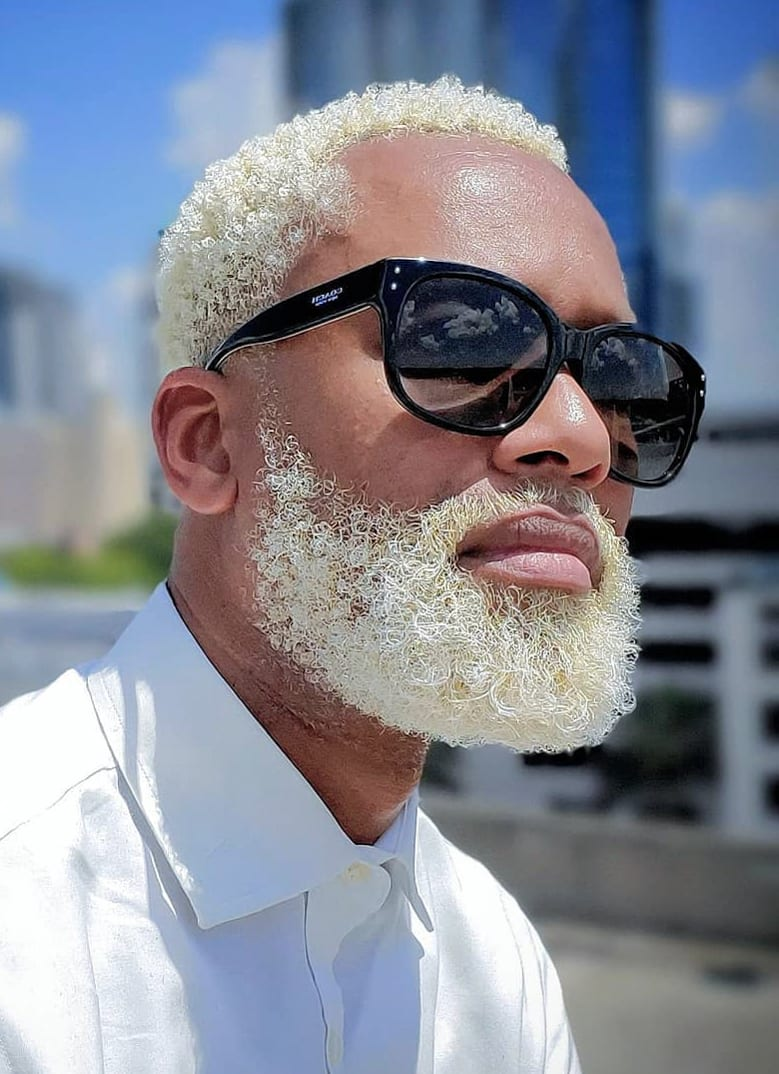 Blonde Dyed Curls and Beard
