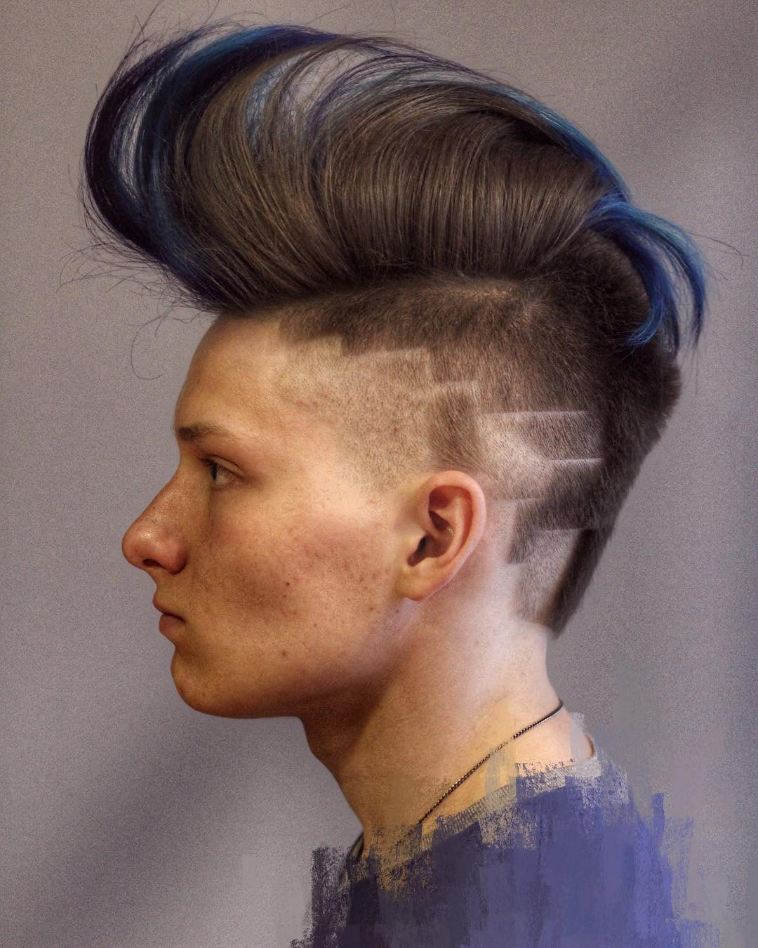 Blue Tapered Mo-Hawk and Side Designs