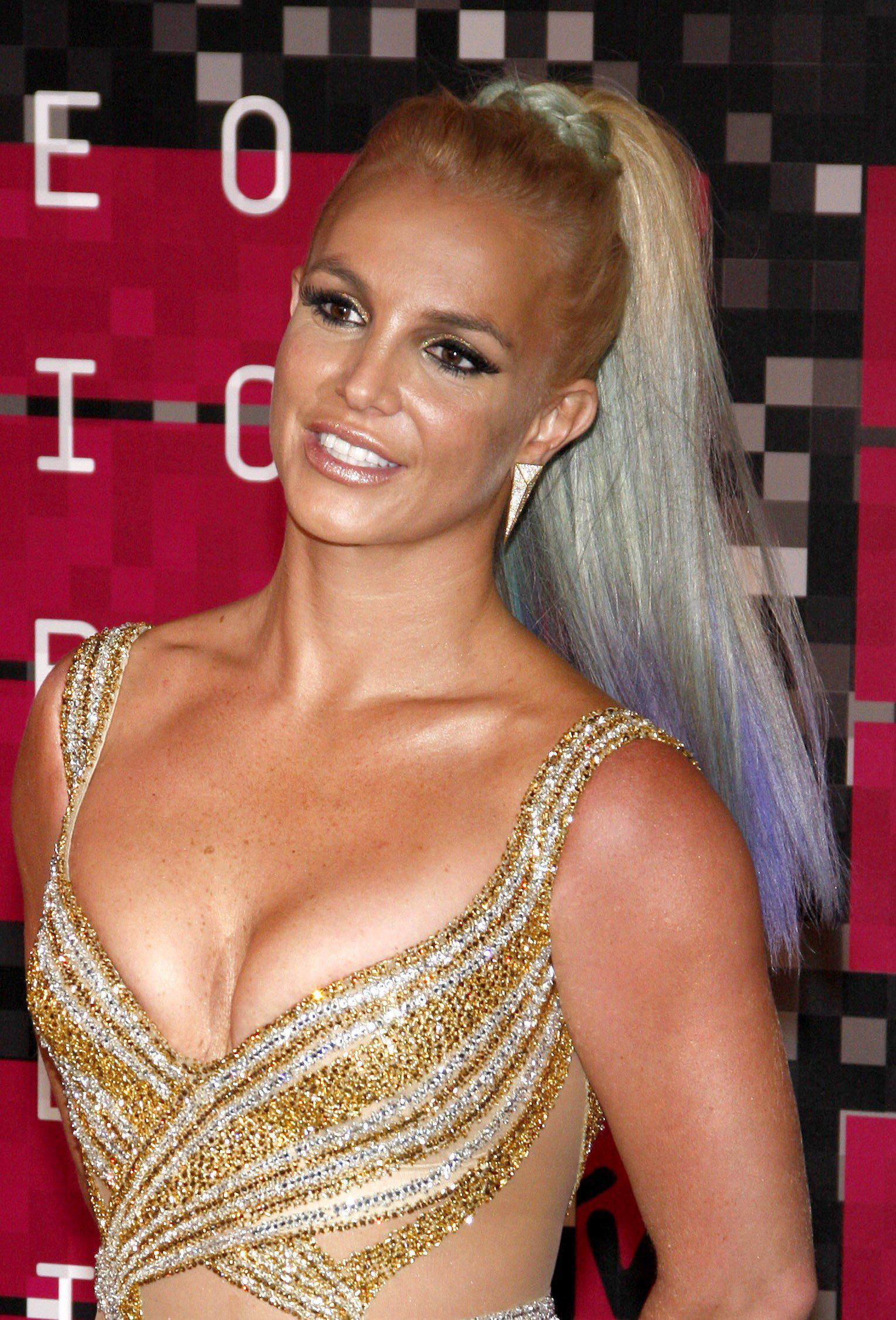 Britney Spears' Purple and Blue Highlights on Blonde Hair