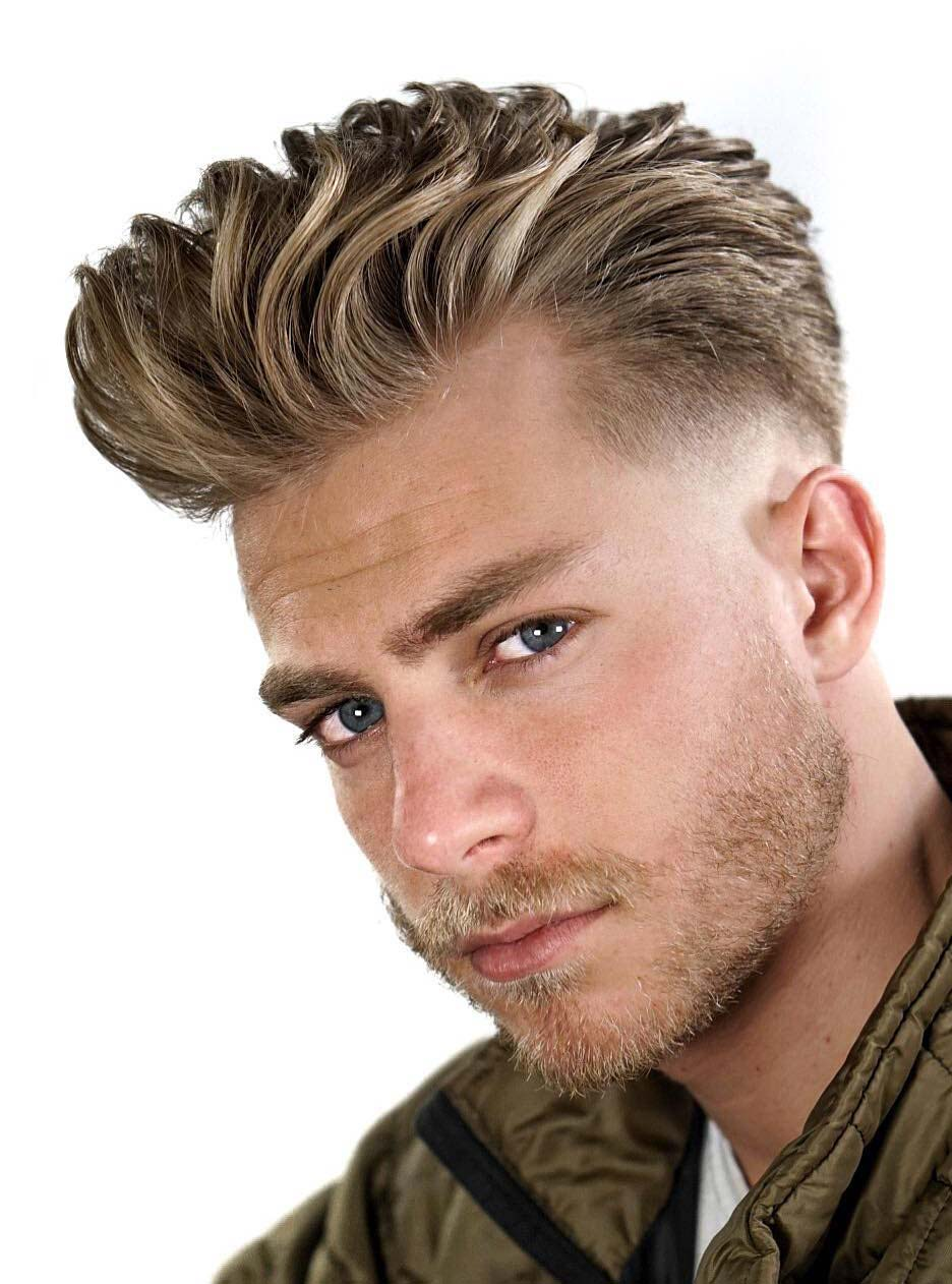 Brush Back Blonde Hairstyle