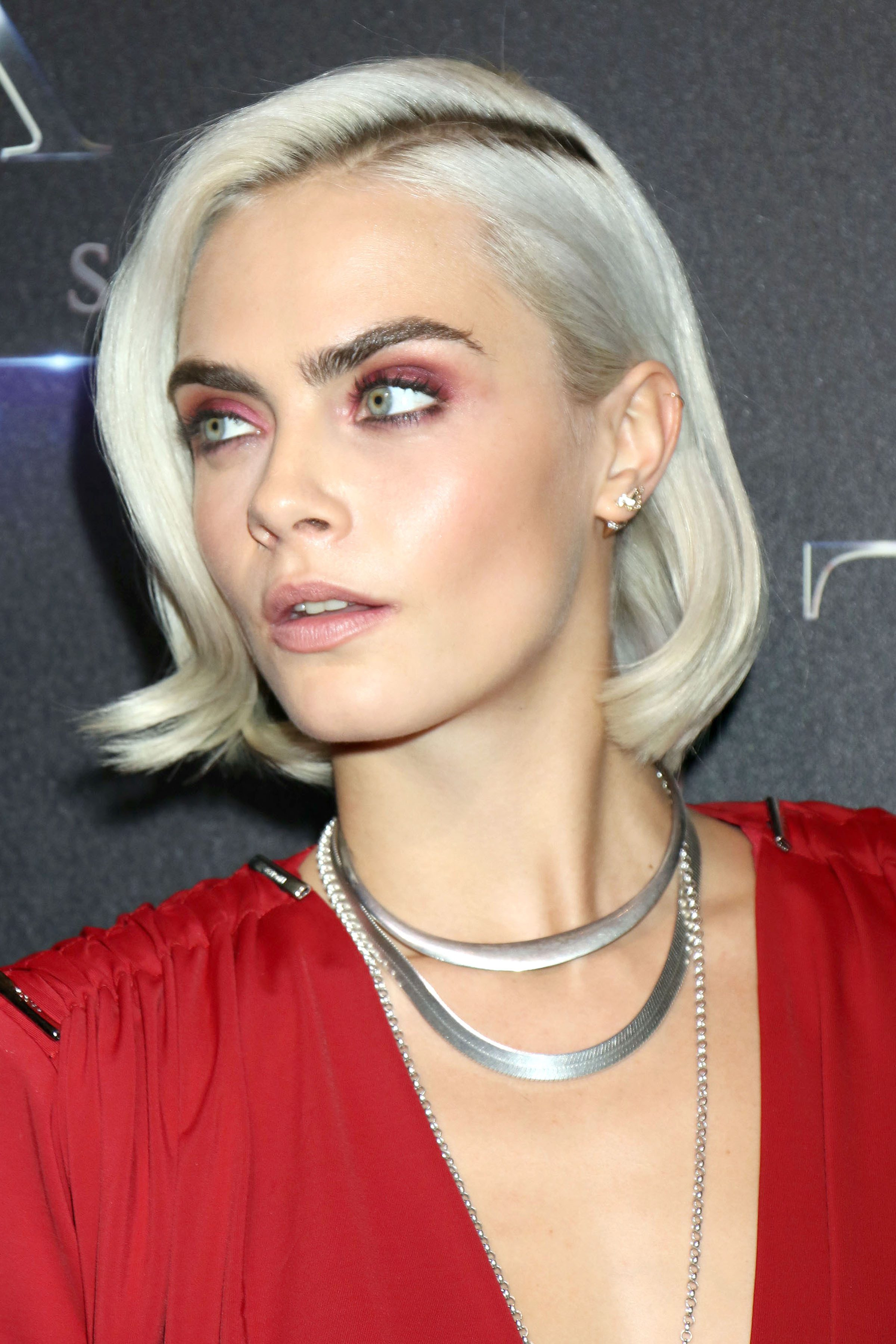 Cara Delevingne's Silver Blonde Highlights with Dark Roots