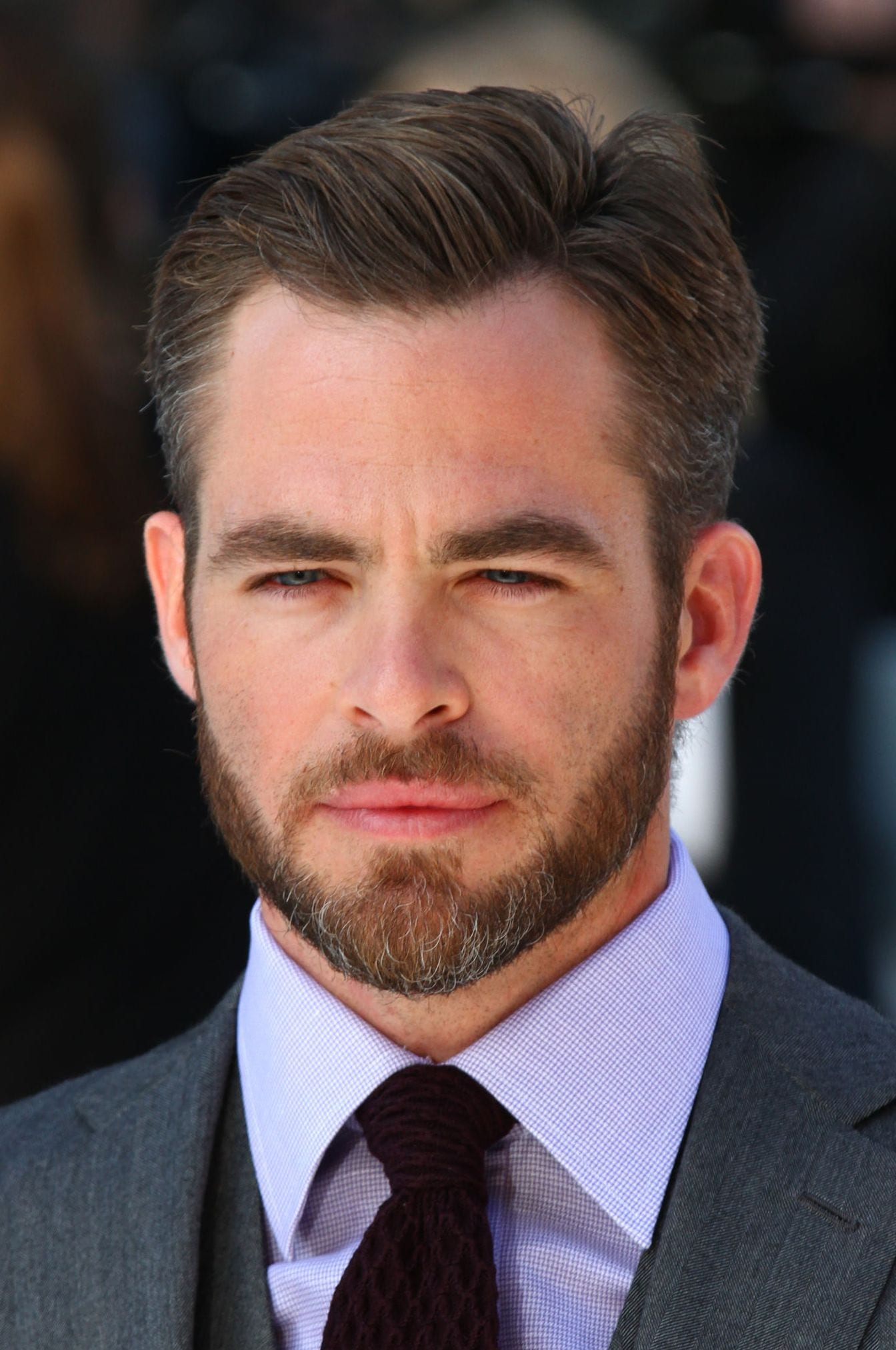 Chris Pine side part with beard