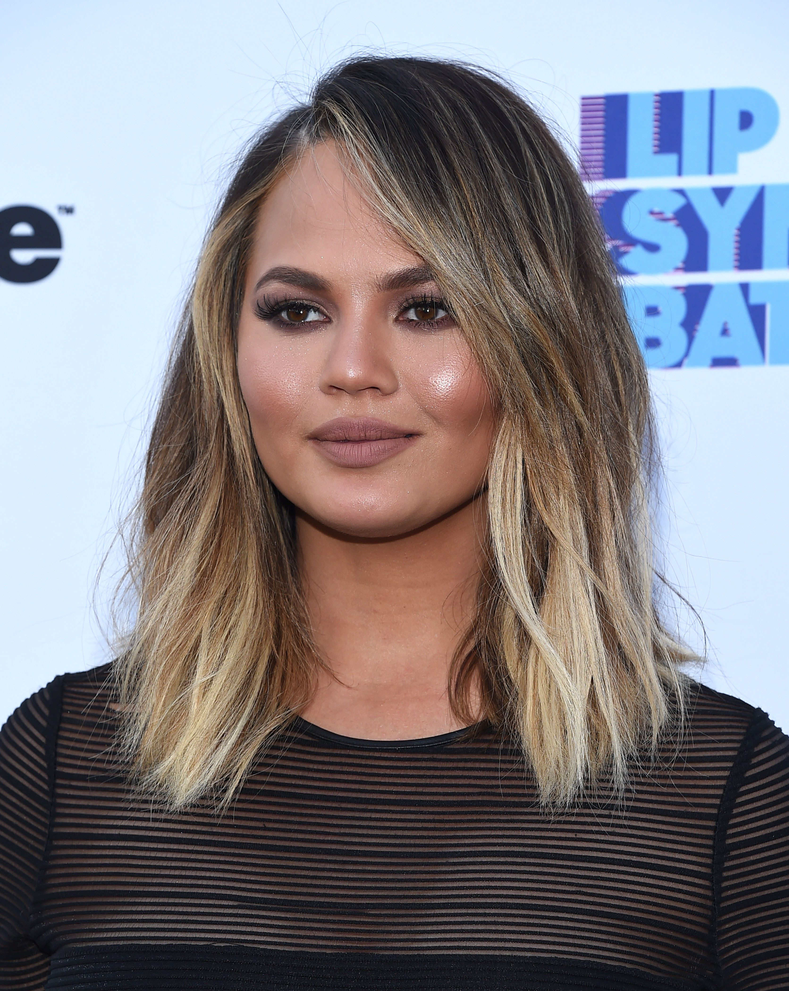 Chrissy Teigen's Chocolate Brown and Platinum Ombre