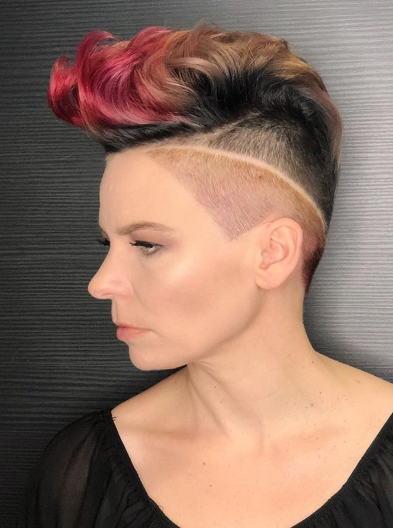 Colorful Top with Undercut Slit Shave