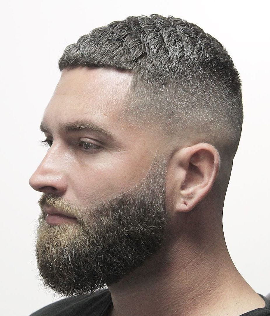 Combed Buzz Cut with Mid Fade
