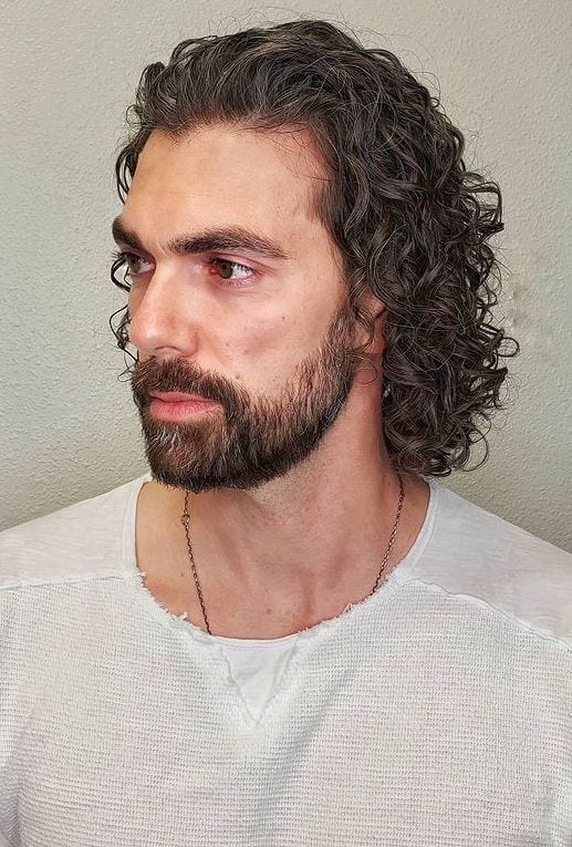 Curled Long Hair with Beard
