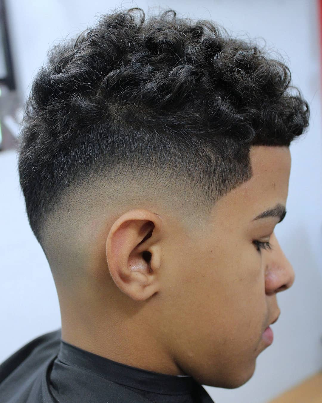 Curled Top with Mid Fade