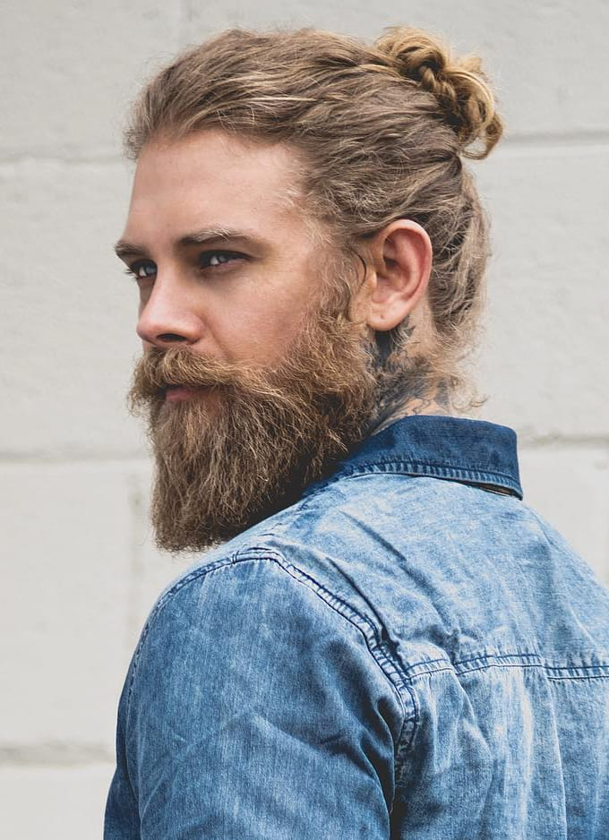 Curly Bun and Beard
