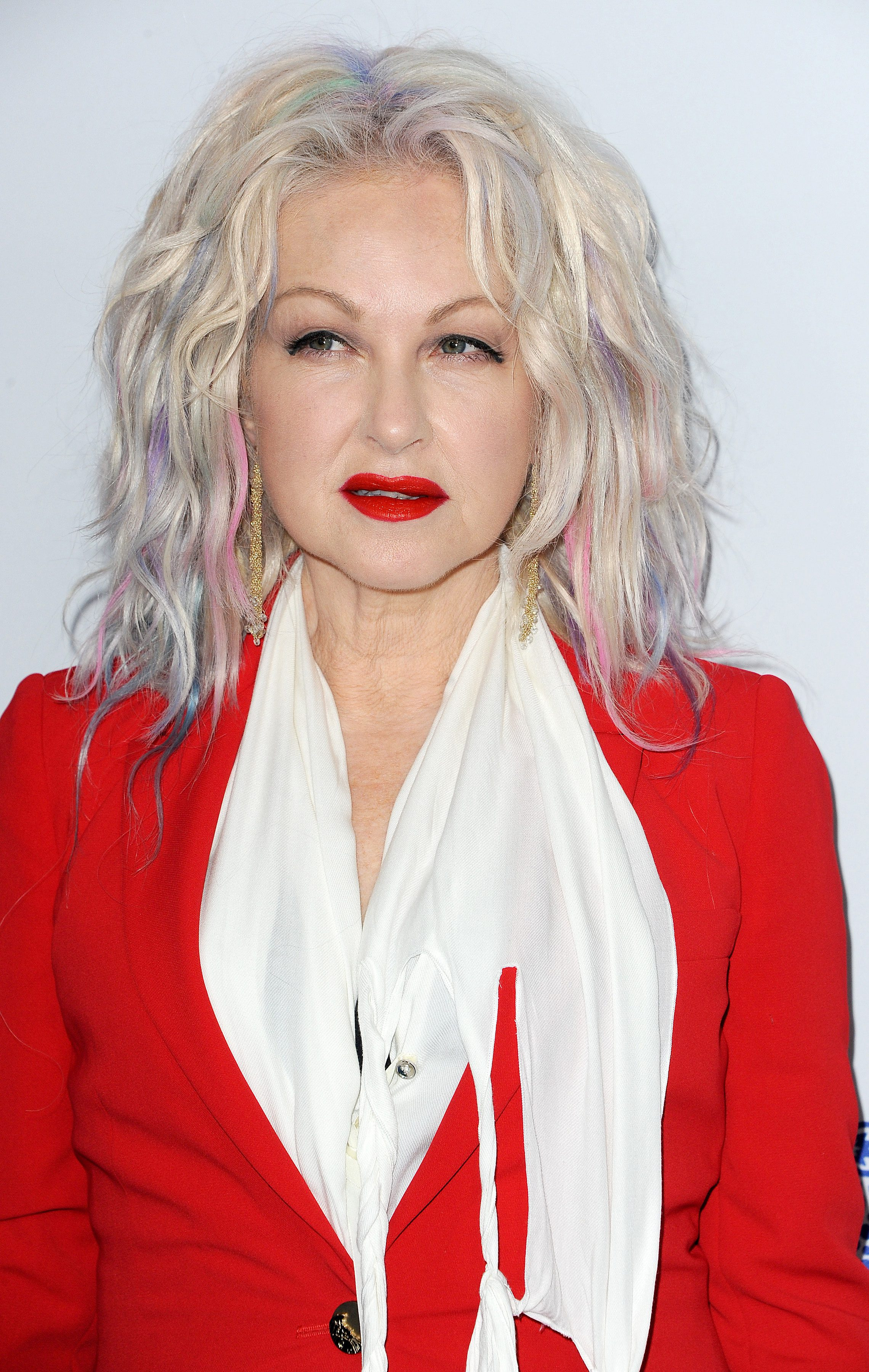 Cyndi Lauper's Silver Hair with Pastel Highlights