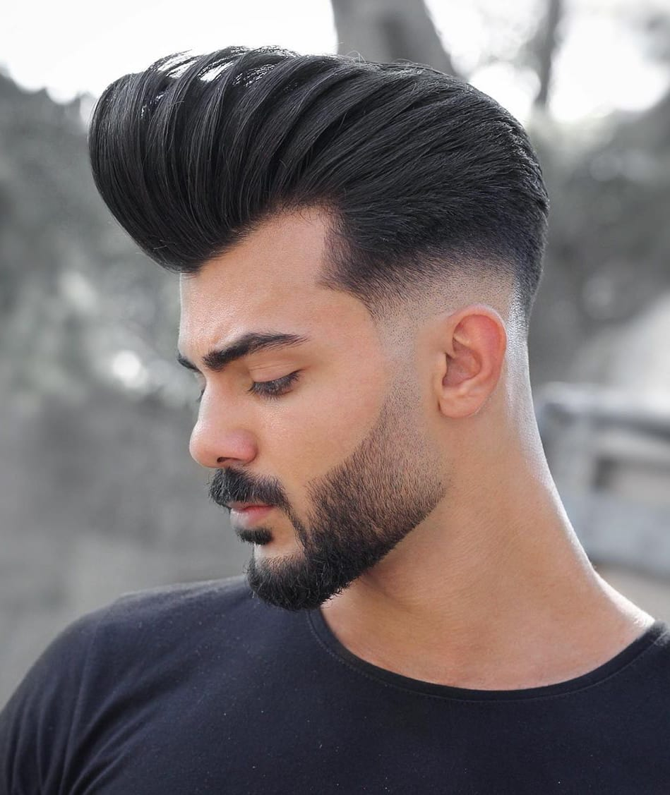 Designer Faded Beard and Pompadour