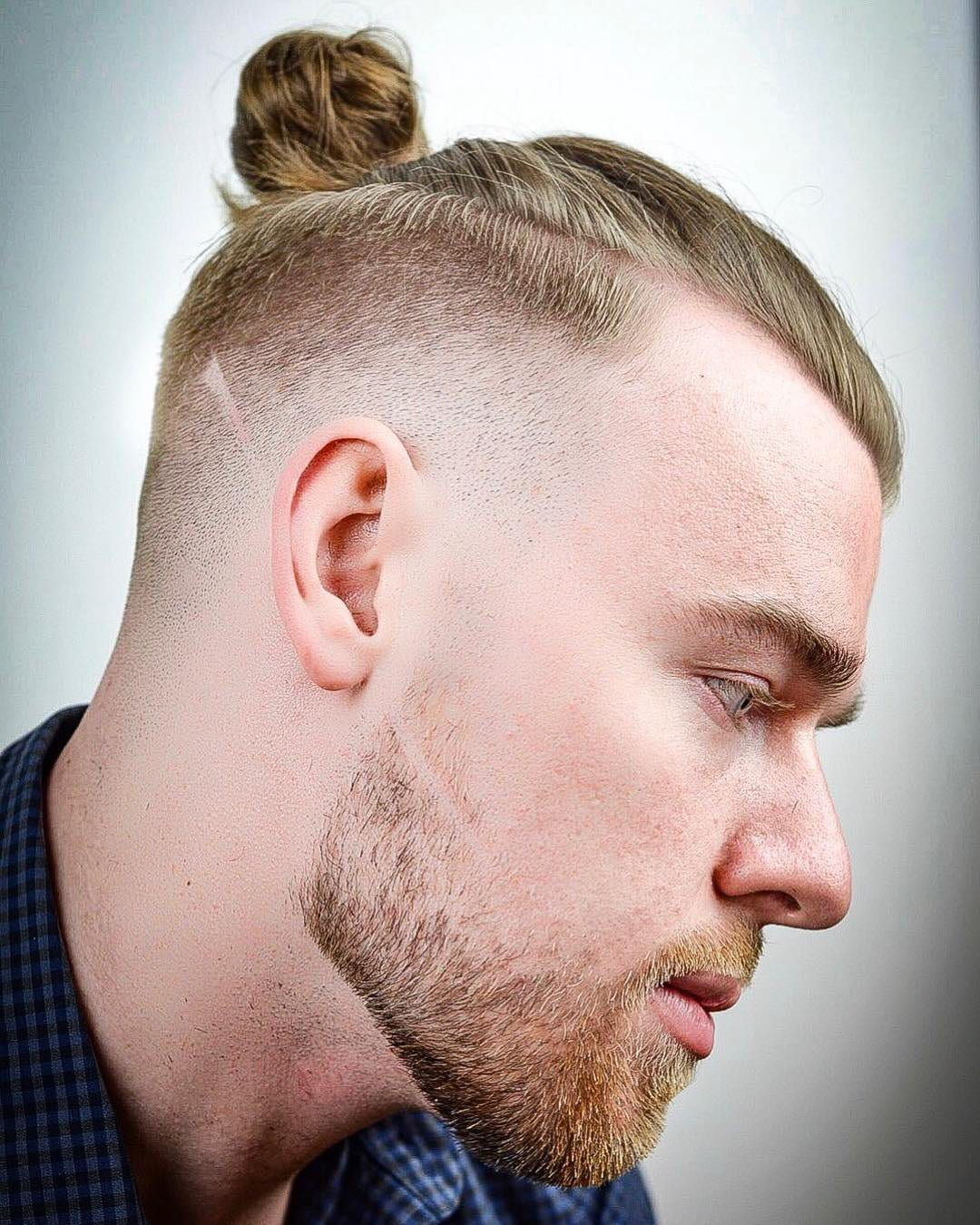 Dirty Blonde Top Knot and High Fade