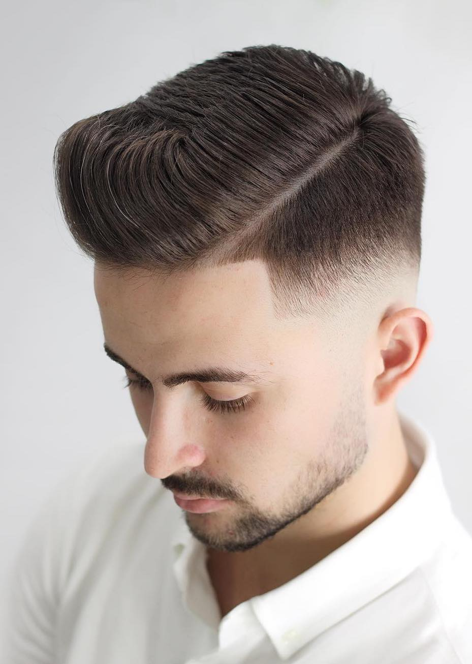 Drop Low Fade with Side Parted Side Swept