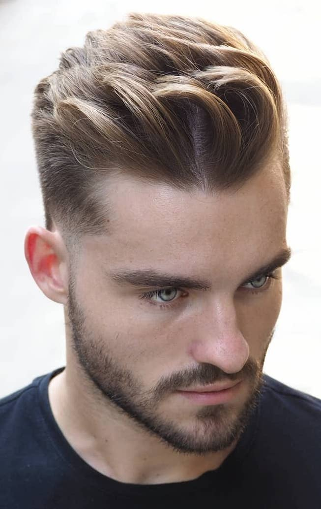 Dyed HAnd Brushed Quiff with Tapered Sides