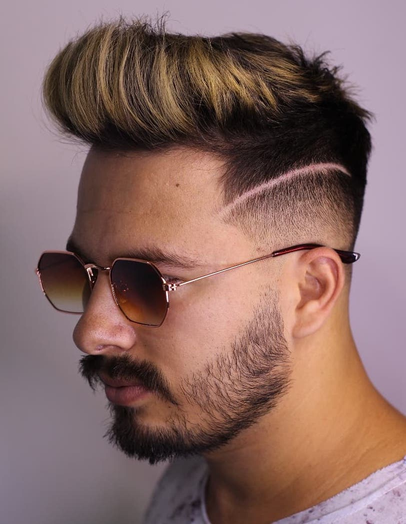 Dyed Highlights with Low Fade