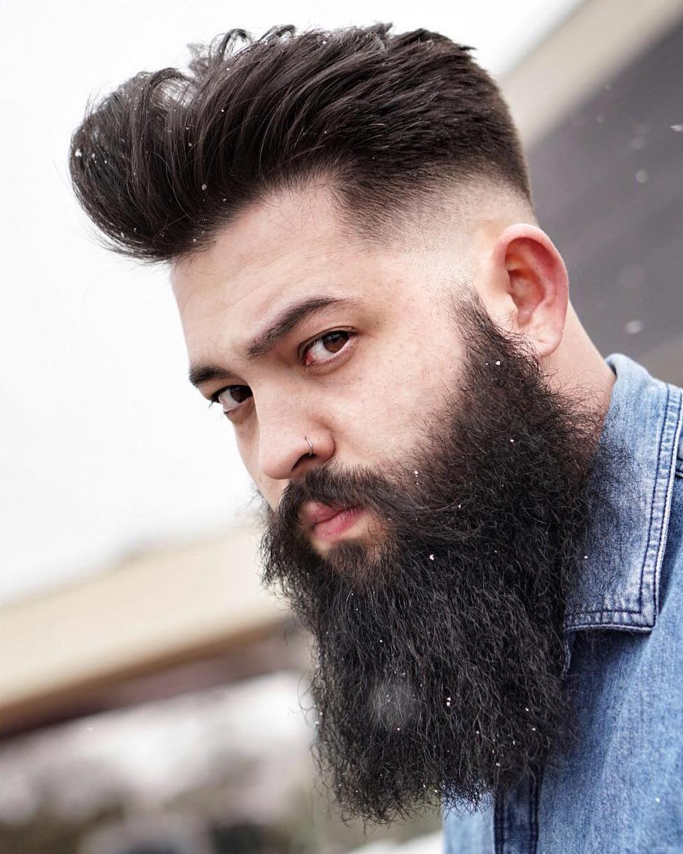 Elongated Beard with Mid Drop Fade