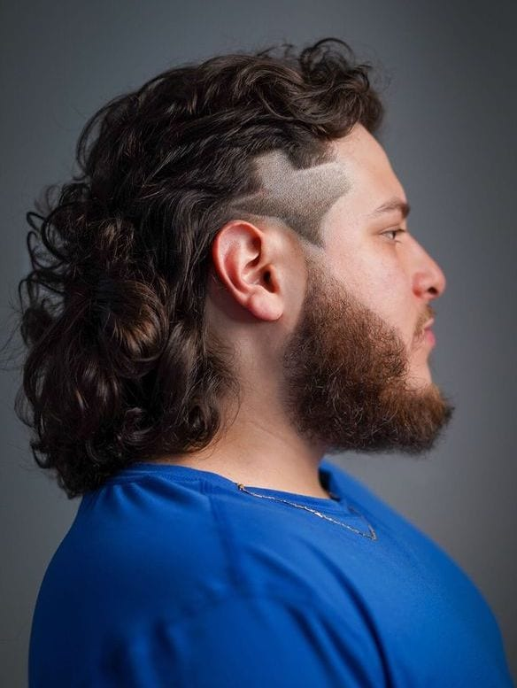 Fancy Curled Mullet with Side Patterns