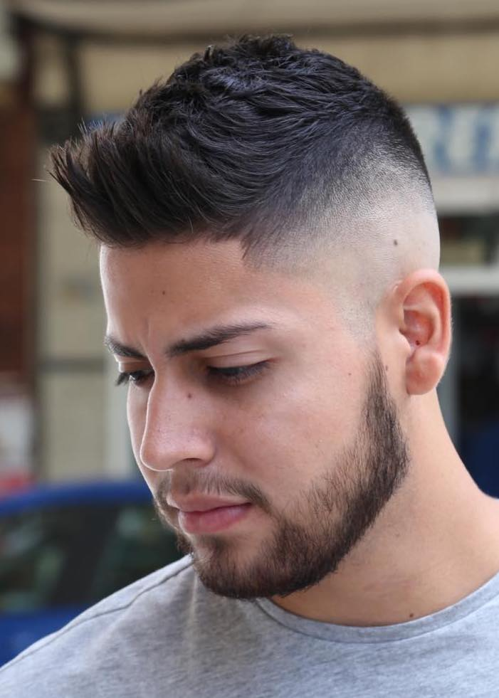 Flat Brush Up with Skin Fade