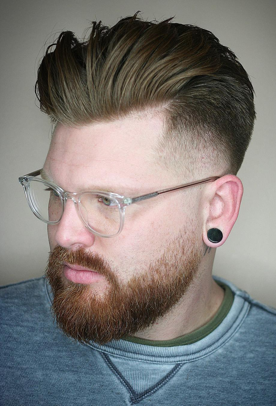 Frizzed Pushed Back with Drop Fade