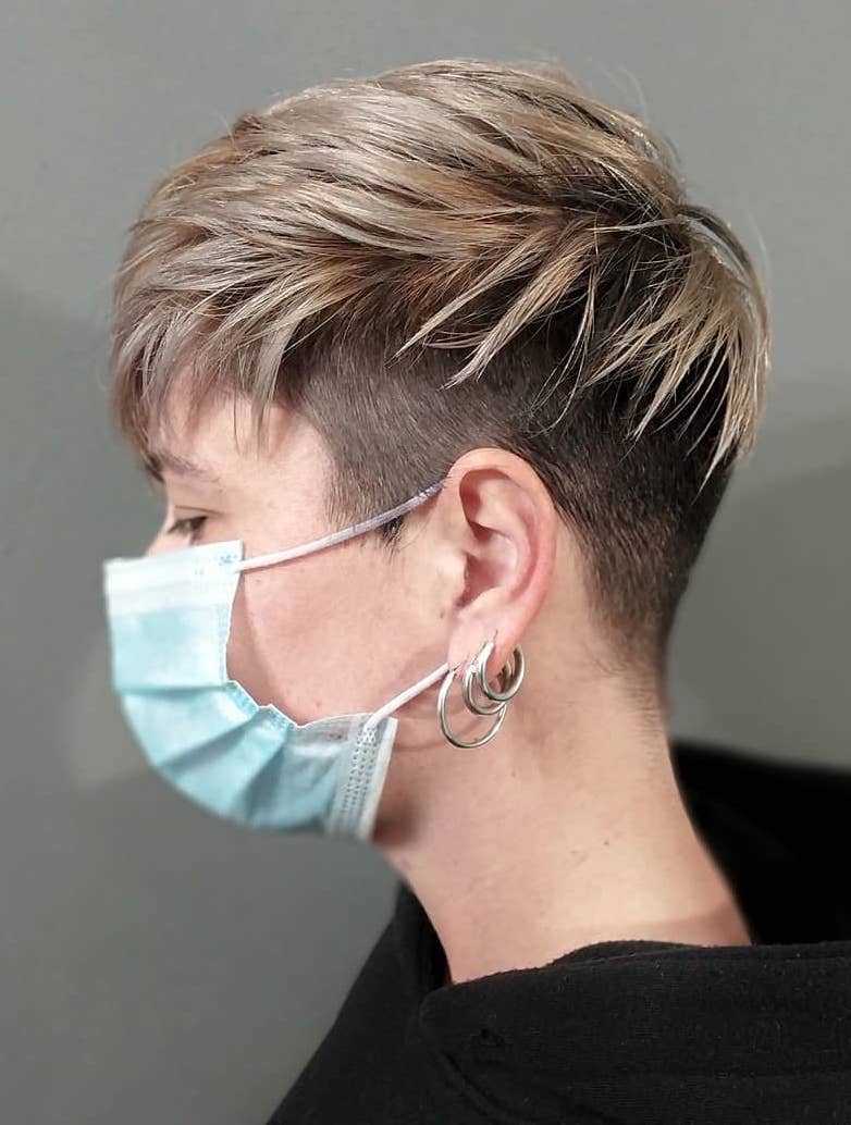 Frizzy Shiny Blonde Top with Undercut