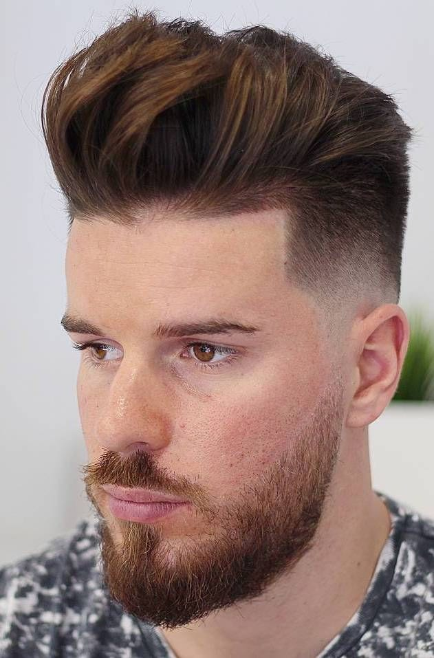 Ginger Pompadour with Taper Fade