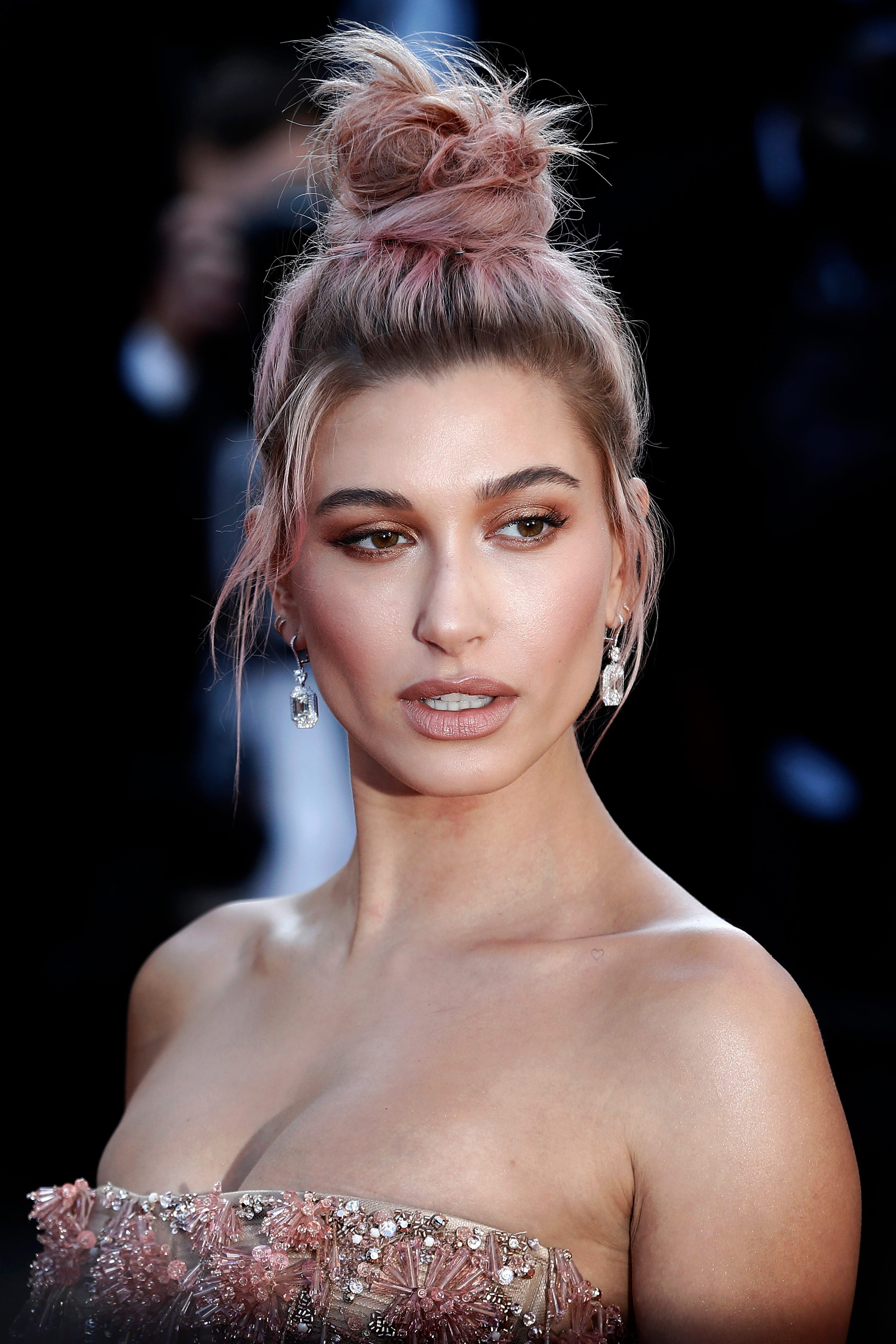 Hailey Baldwin's Pink Highlights with Dark Roots