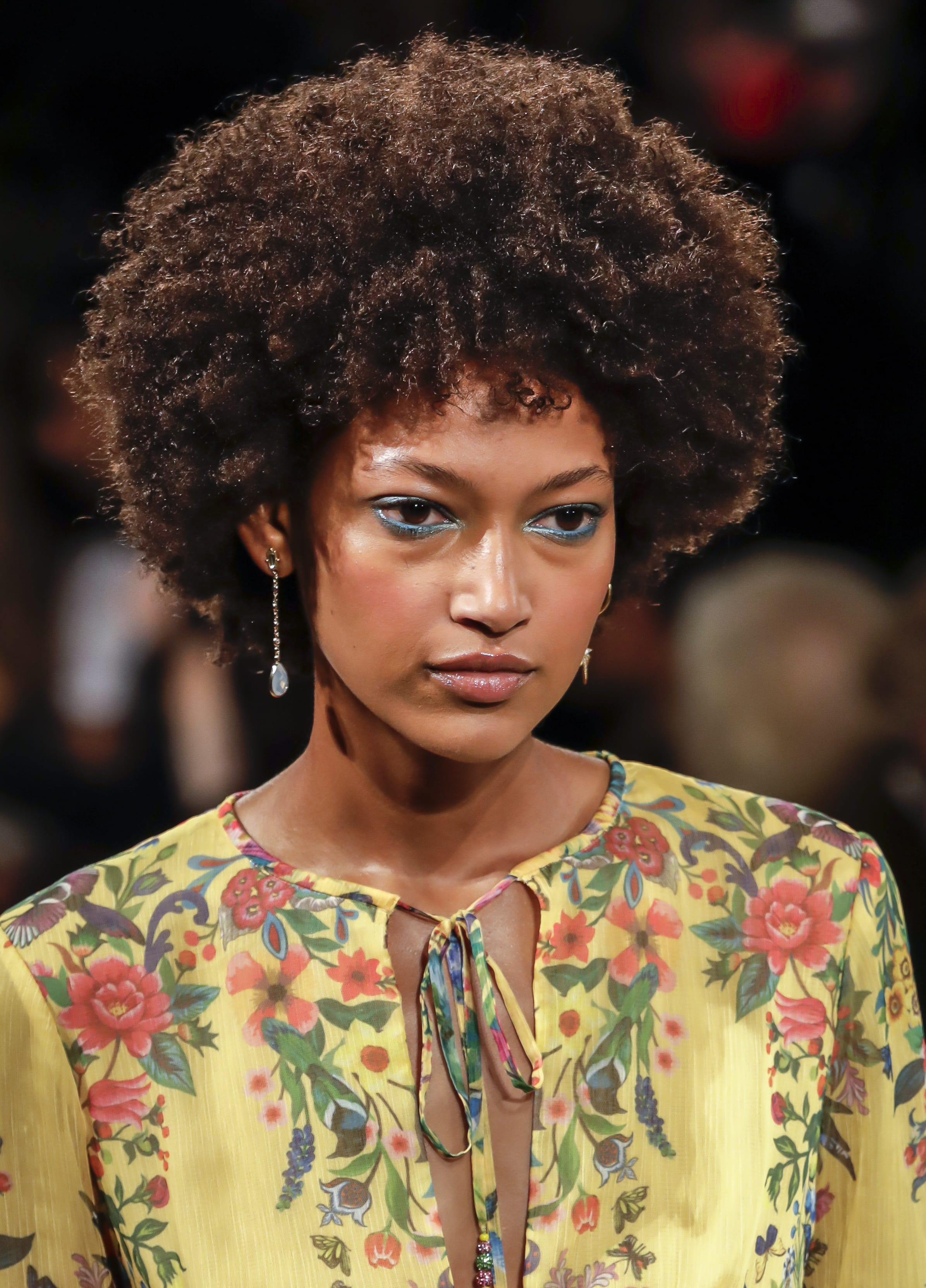 High Round Afro with Short Bangs