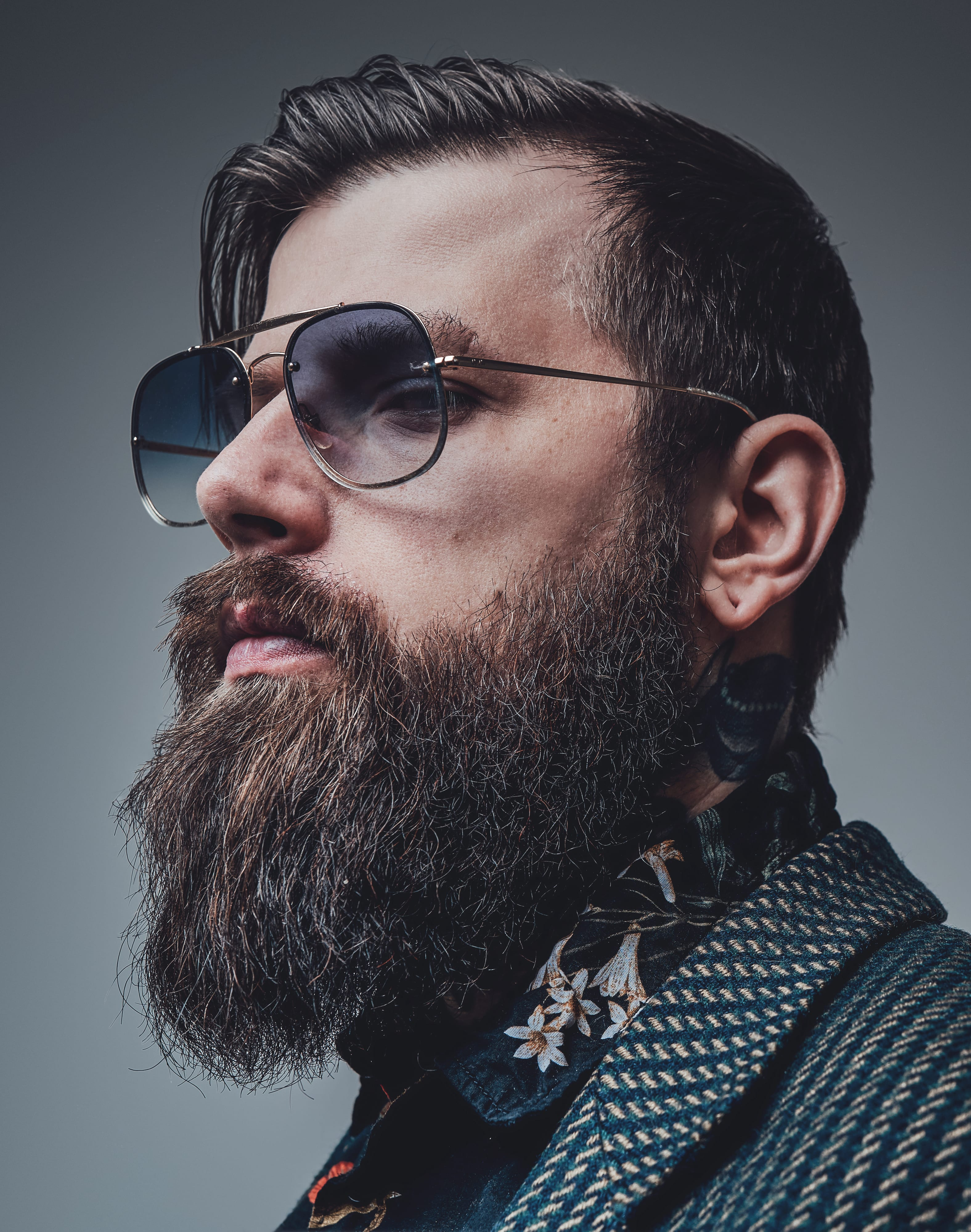 Hippie Side Sweep with Thick Beard