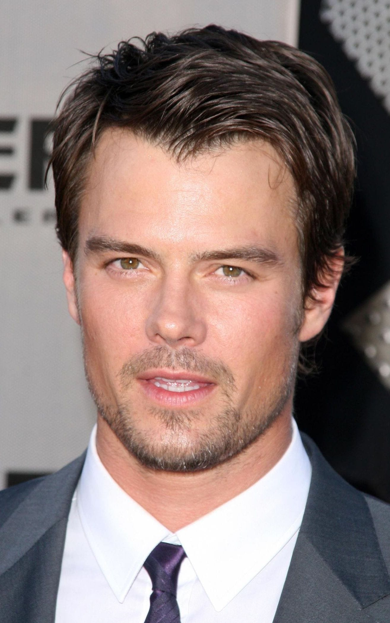 Josh Duhamel widow peak messy side part comb over