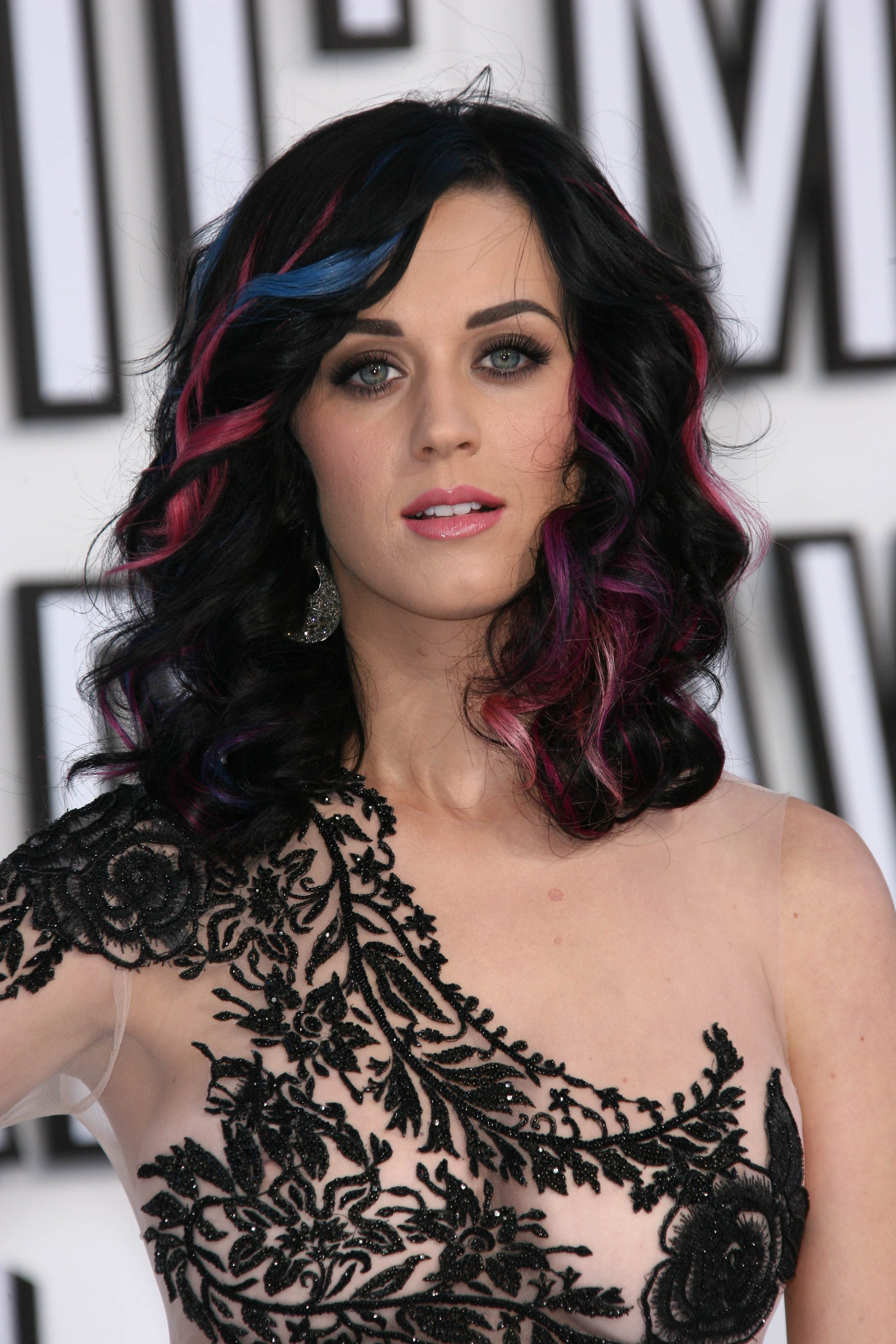 Katy Perry's Black Hair with Blue and Purple Highlights