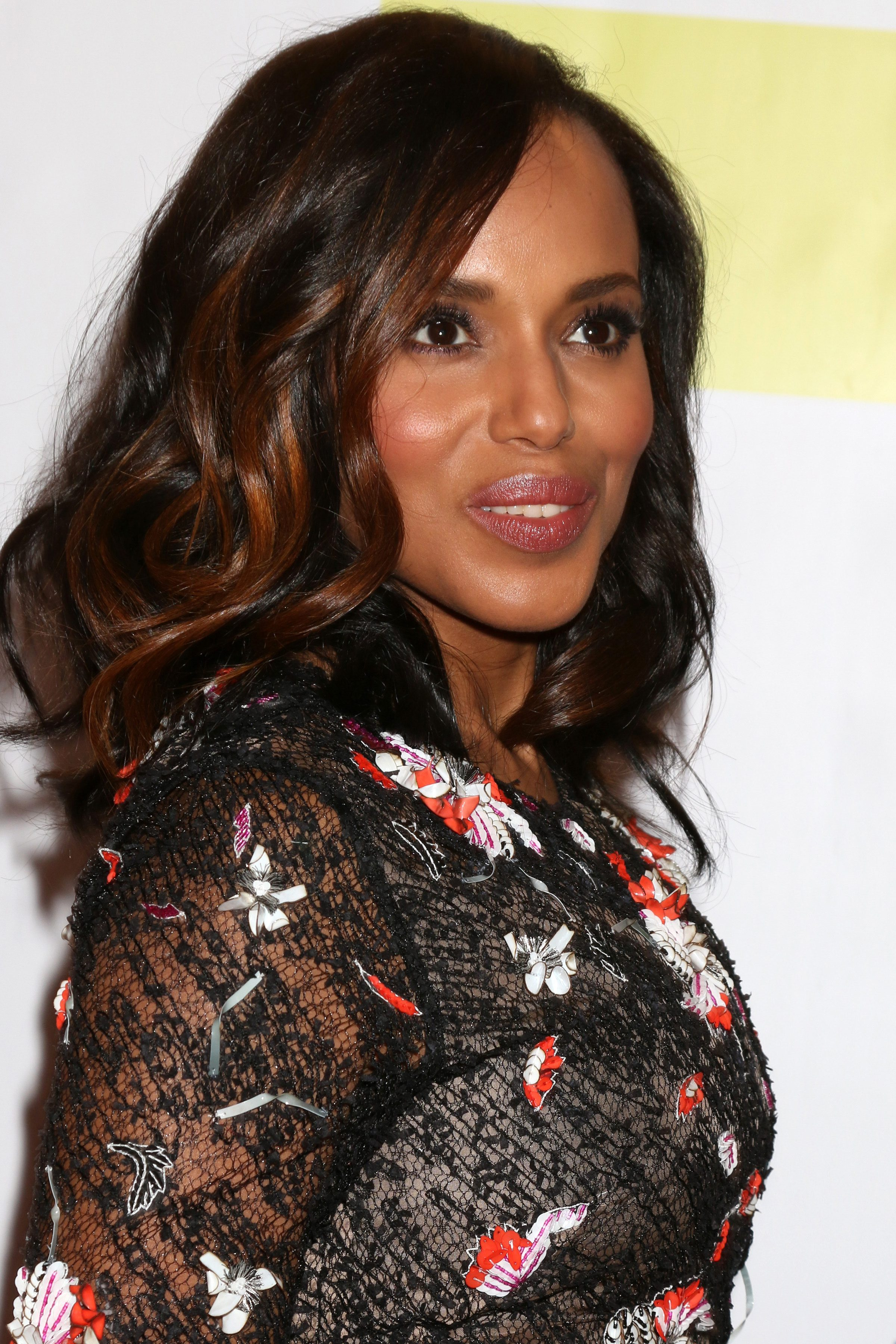 Kerry Washington's Chocolate Brown Hair with Copper Highlights