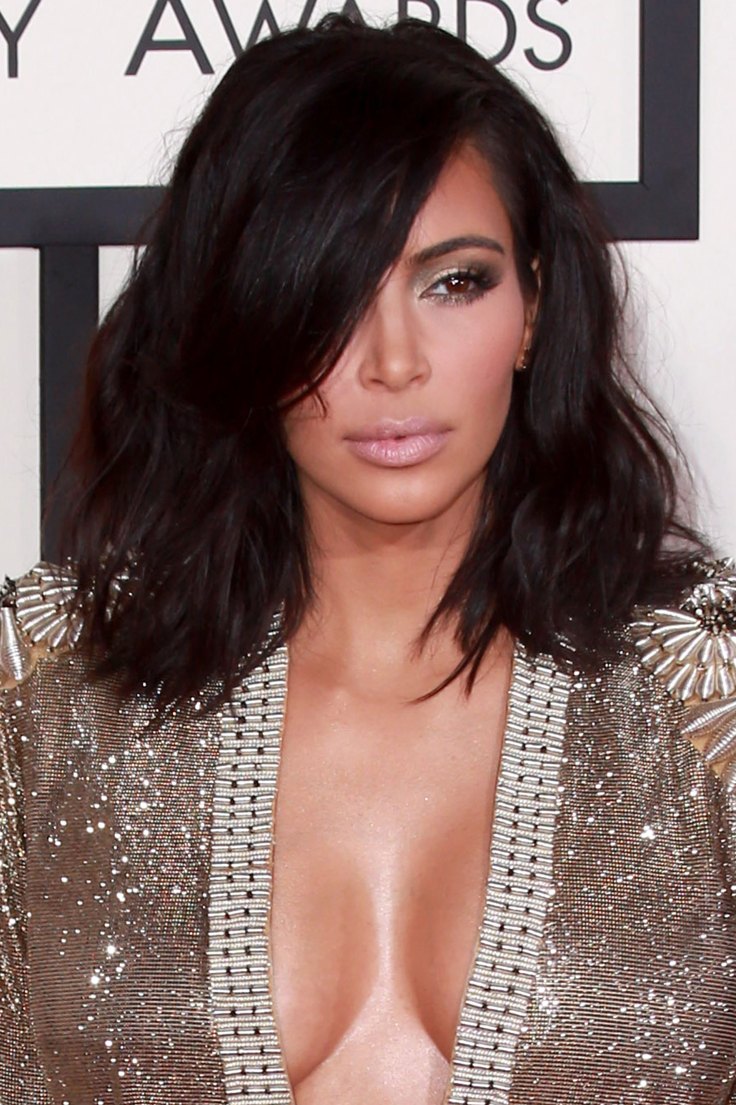Kim Kardashian's Layered Lob With Long Side Bangs