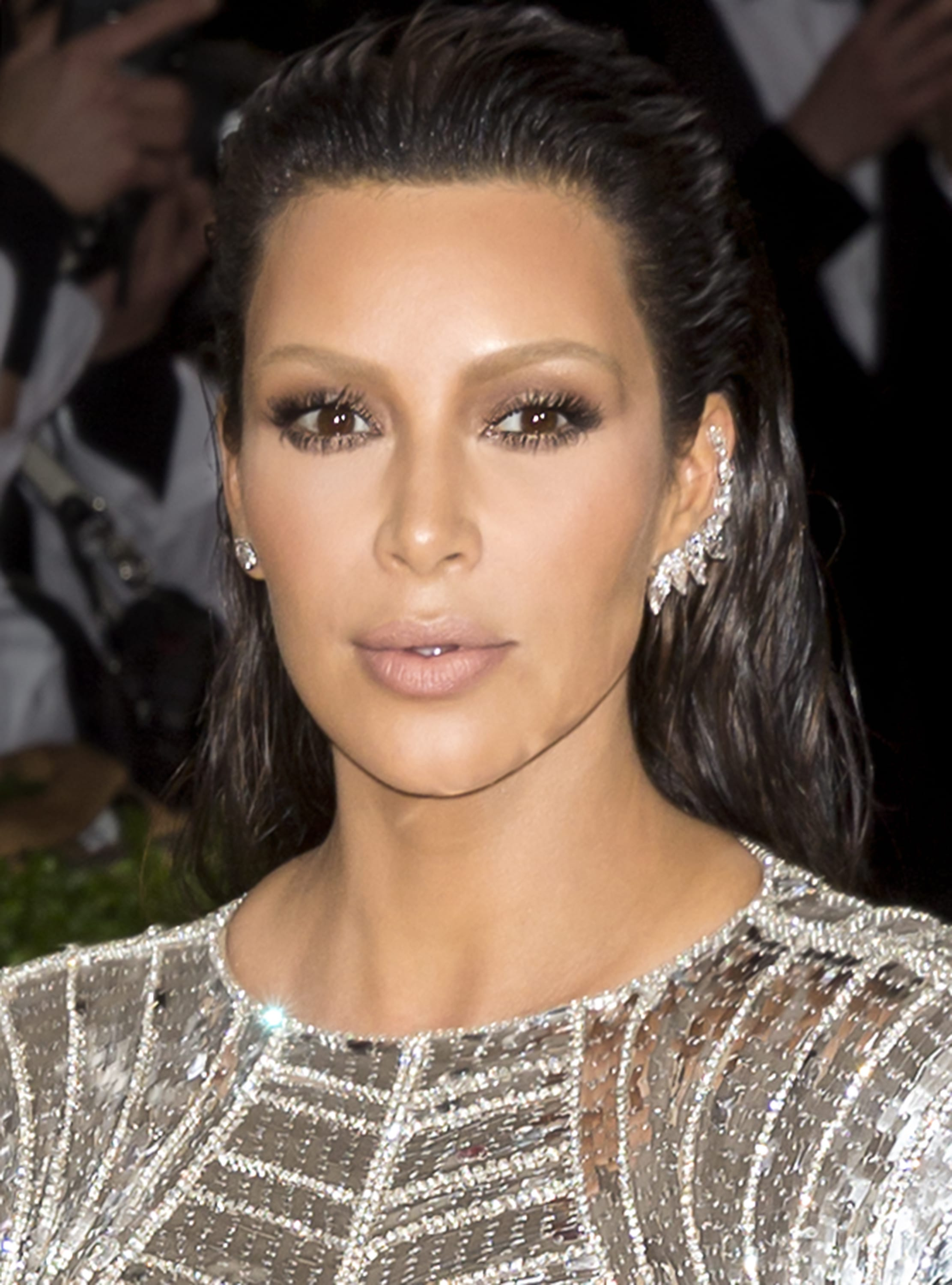 Kim K's Wet-Look, Slicked-Back Hairstyle