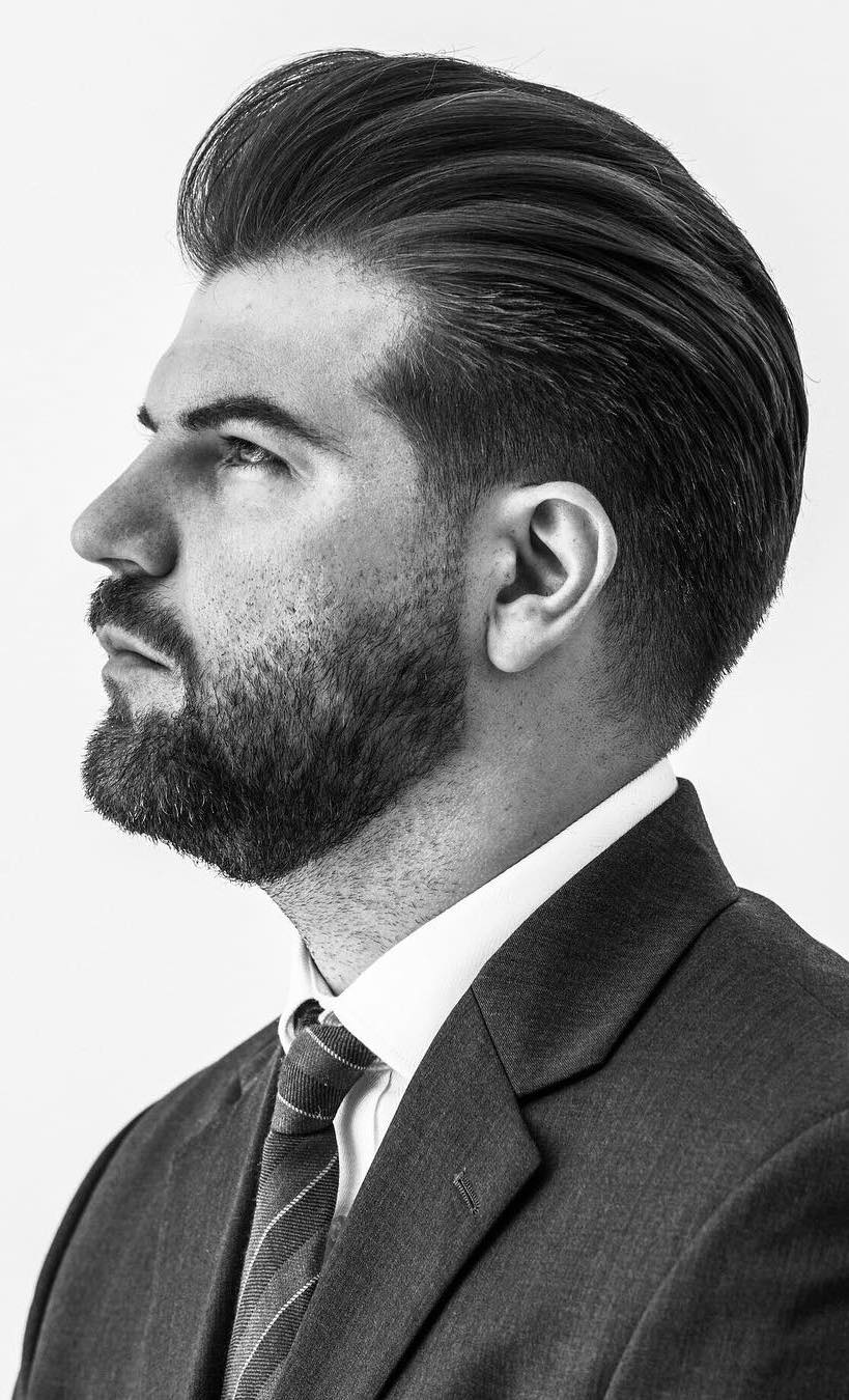 Layered Pompadour with Tapered Temple