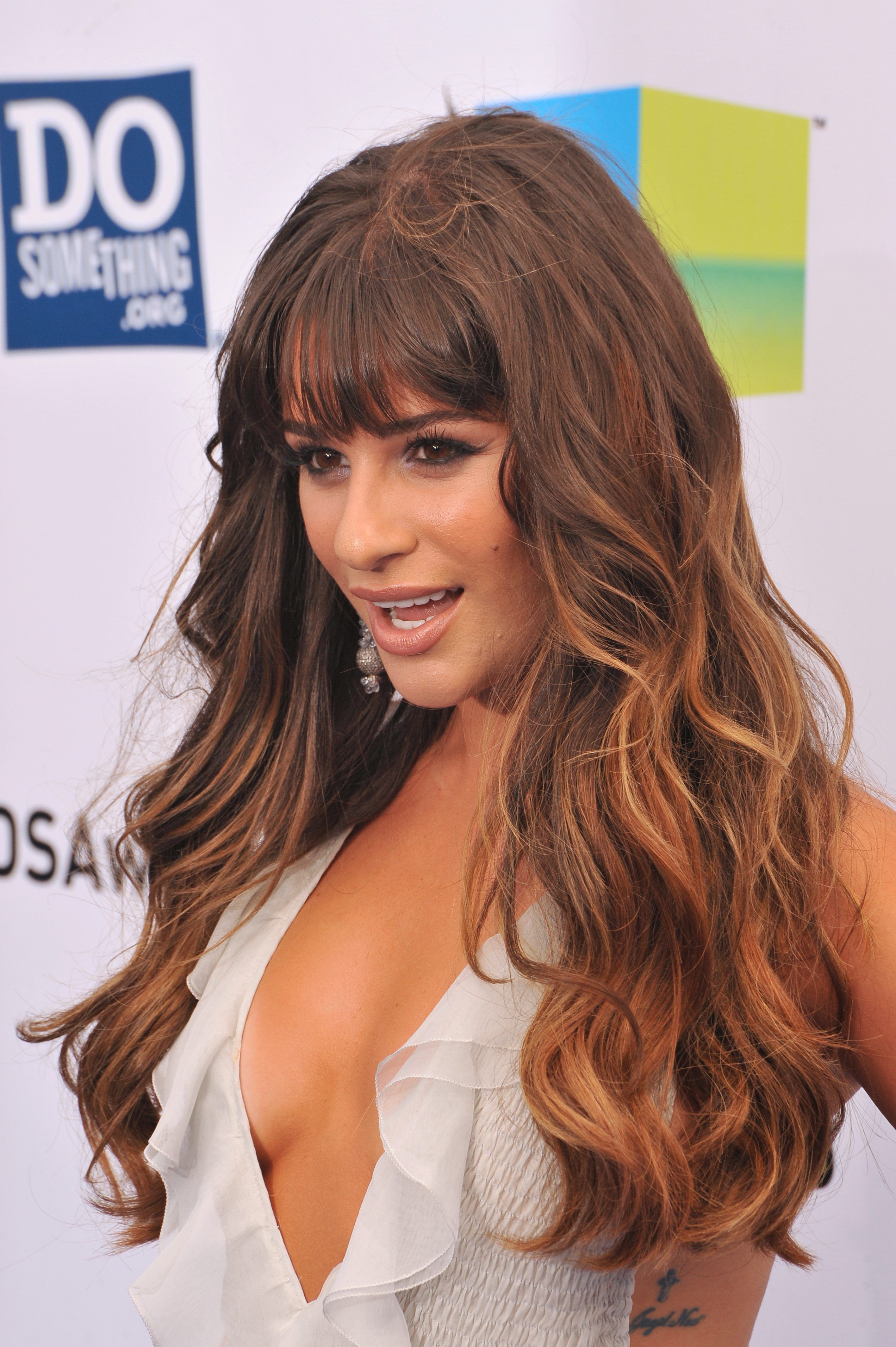 Lea Michele's Chocolate Brown Hair with Strawberry Highlights