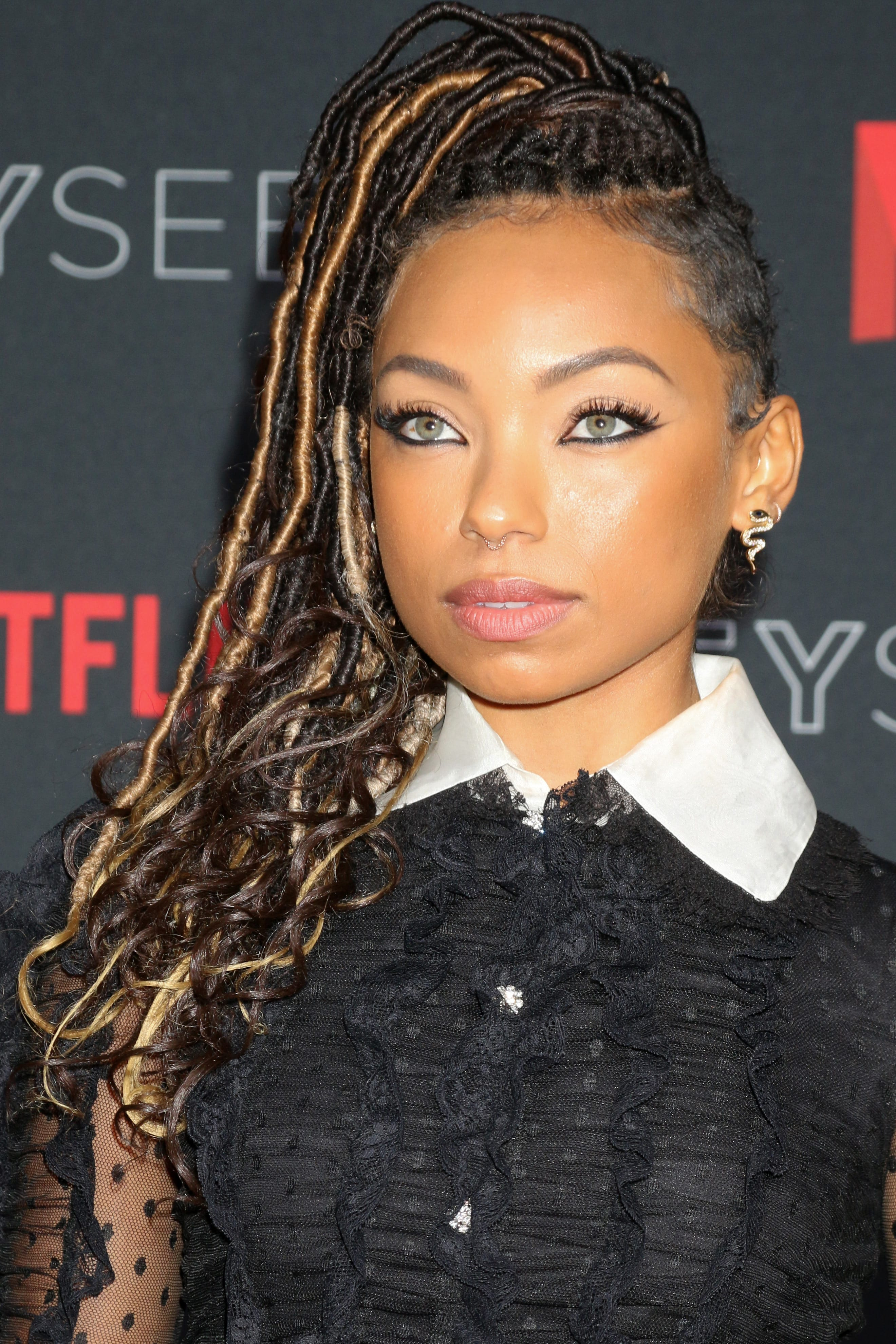 Logan Browning Thin Dreads with Highlights