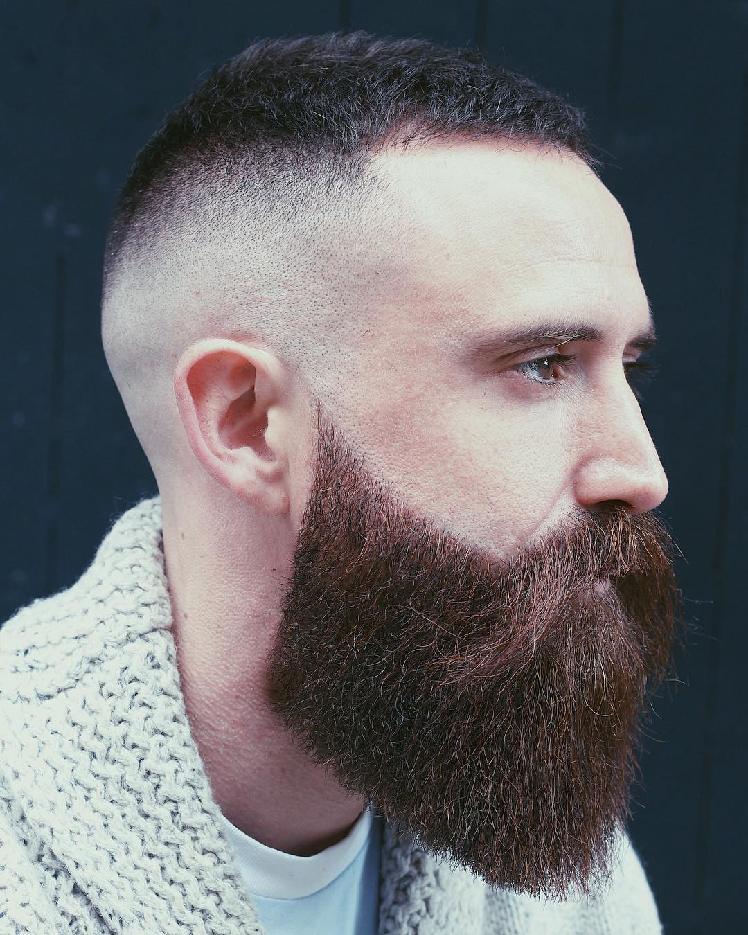 Lush Beard with Thick Volume Compliments the Skin Fade