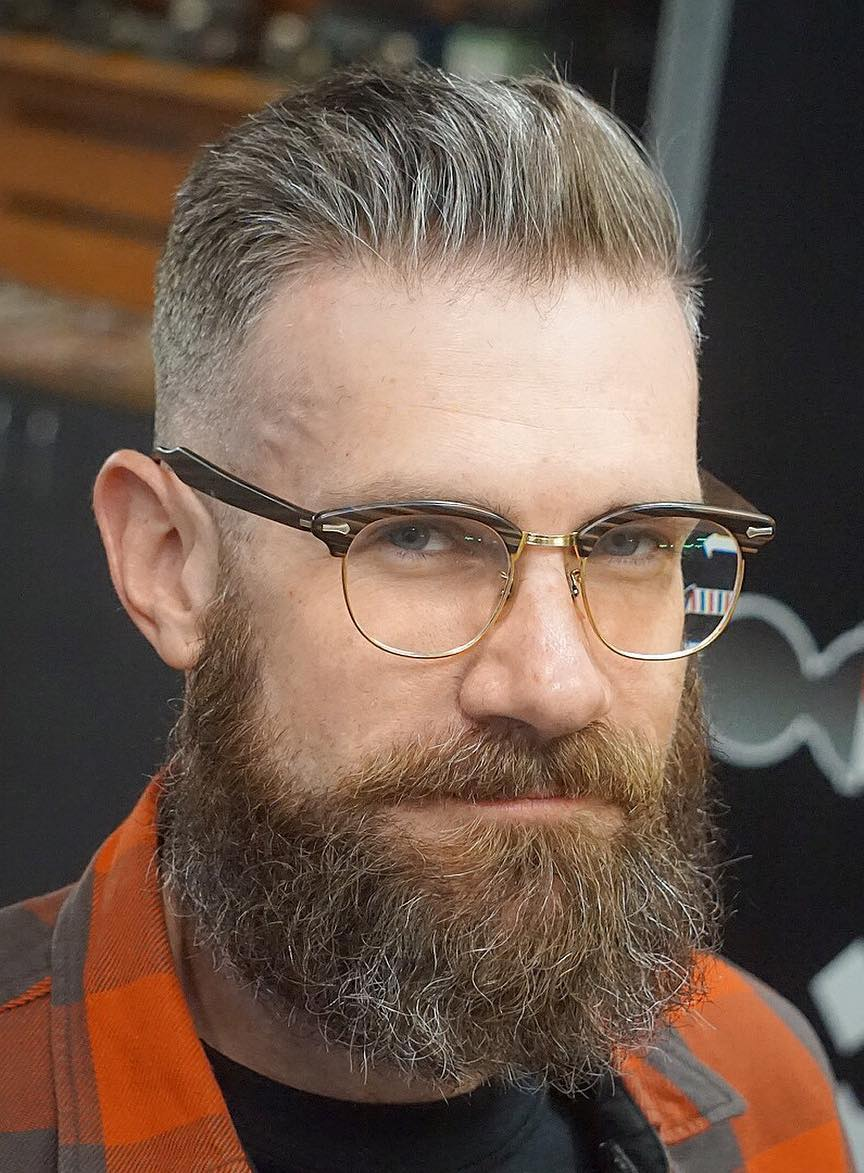 Mature Hipster with Thin Hair and Beard