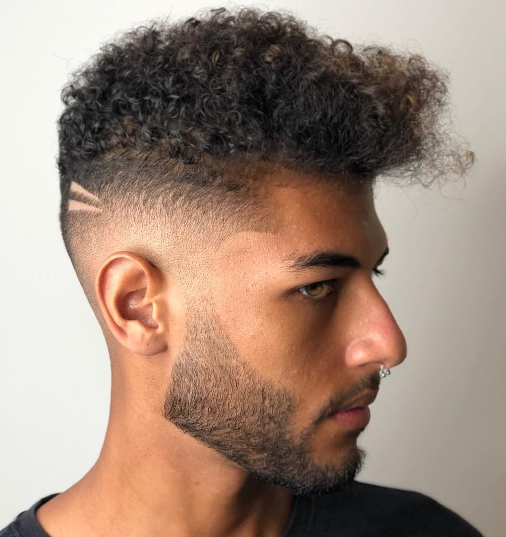 Medium Fade and Hardline Design on Curly Hair