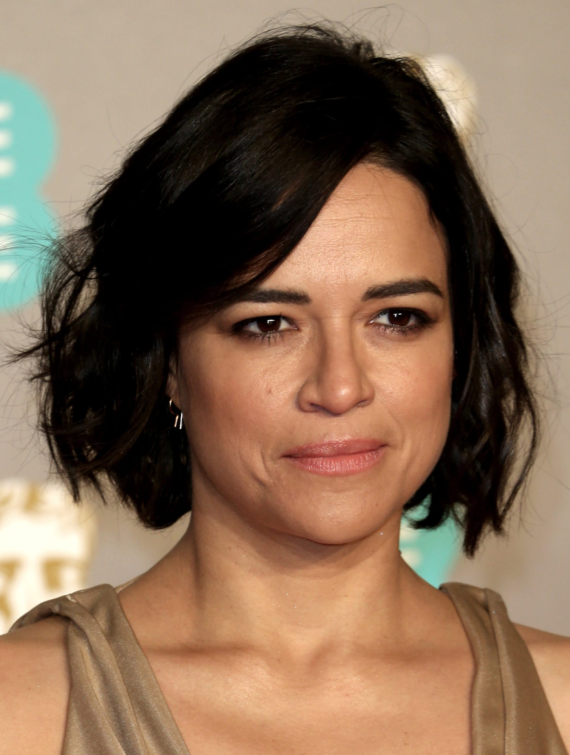 Michelle Rodriguez Natural Side Part and Bob