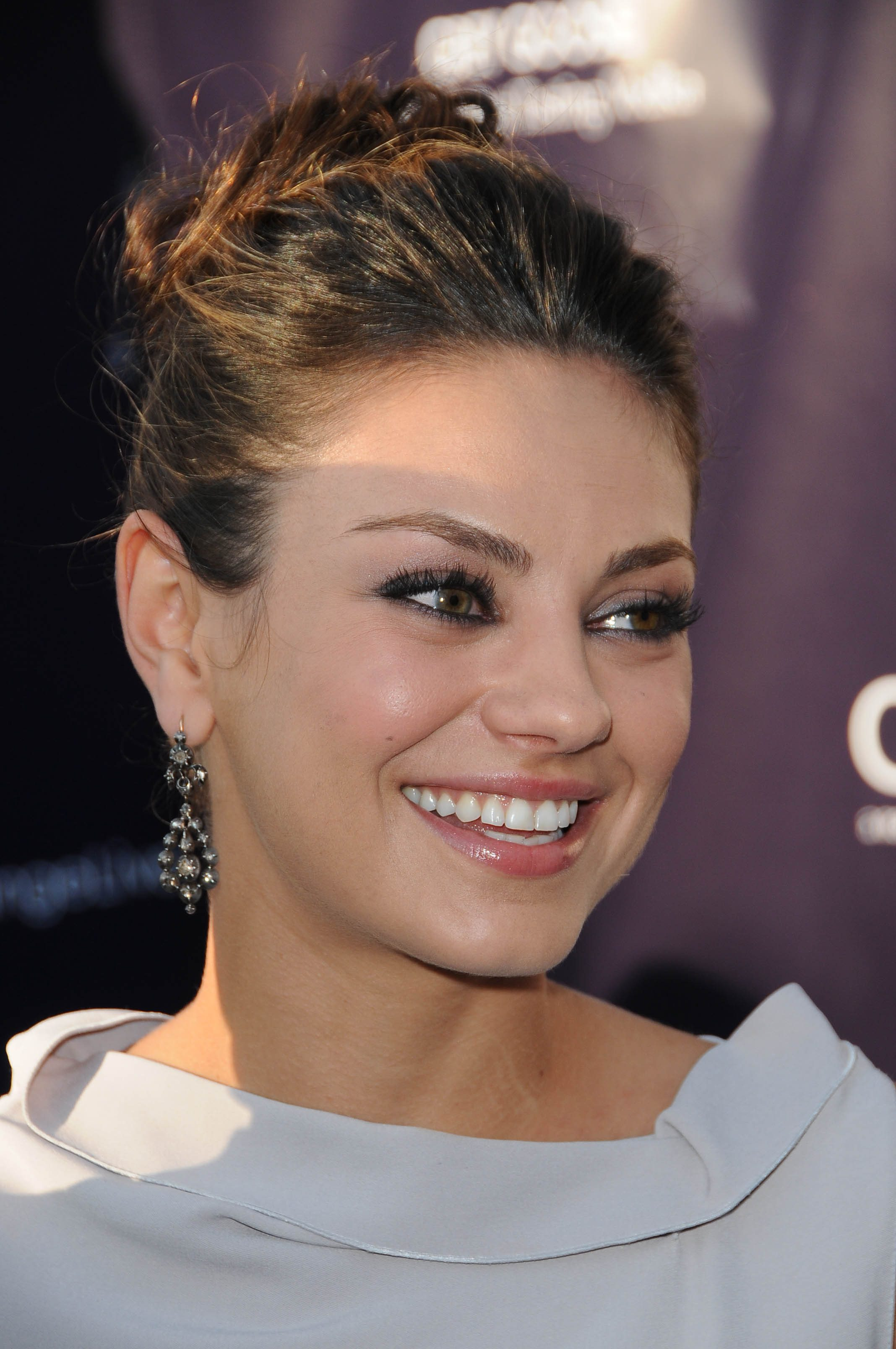 Mila Kunis with Casual Flat Top Updo