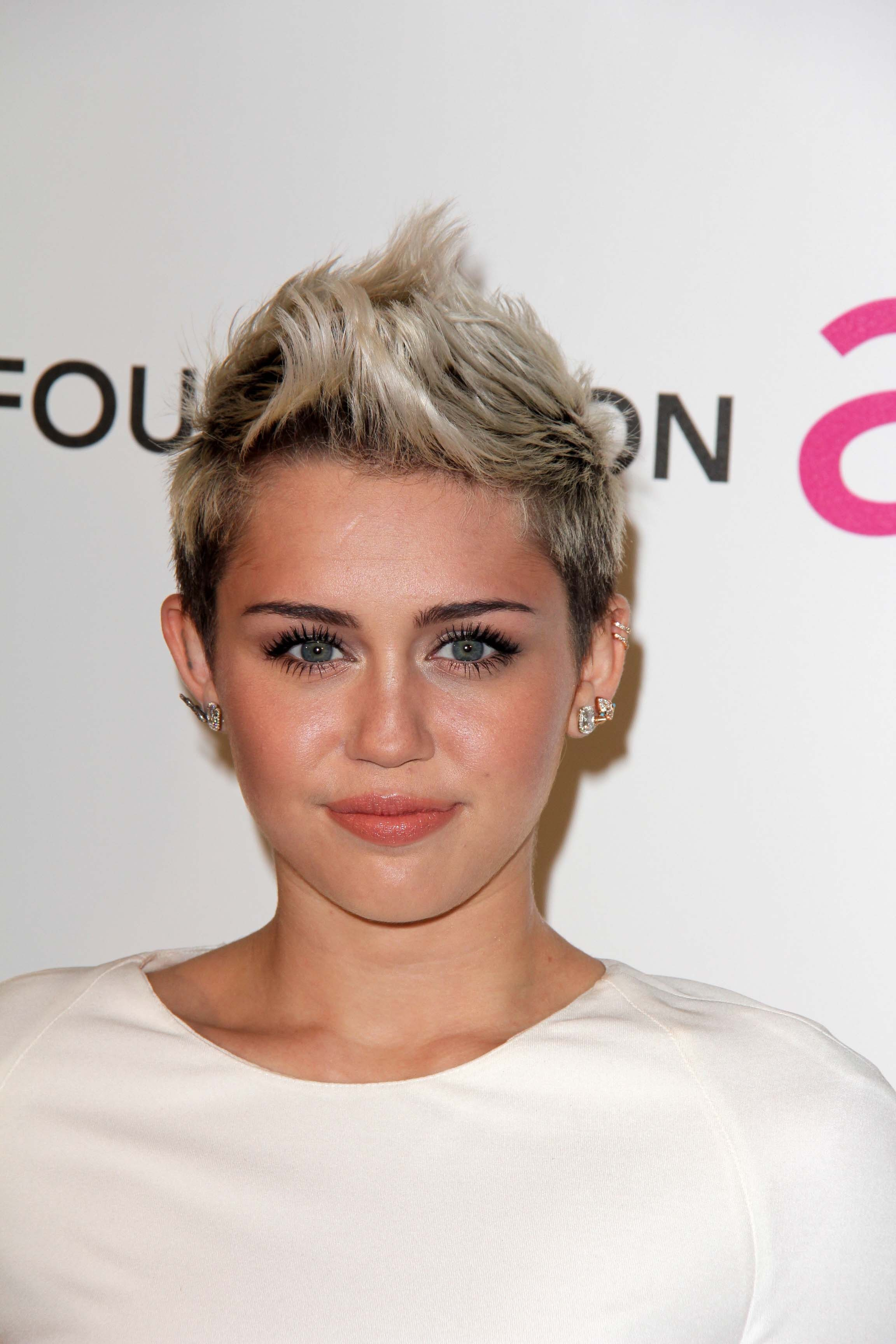 Miley Cyrus' Silver Faux Hawk with Dark Roots