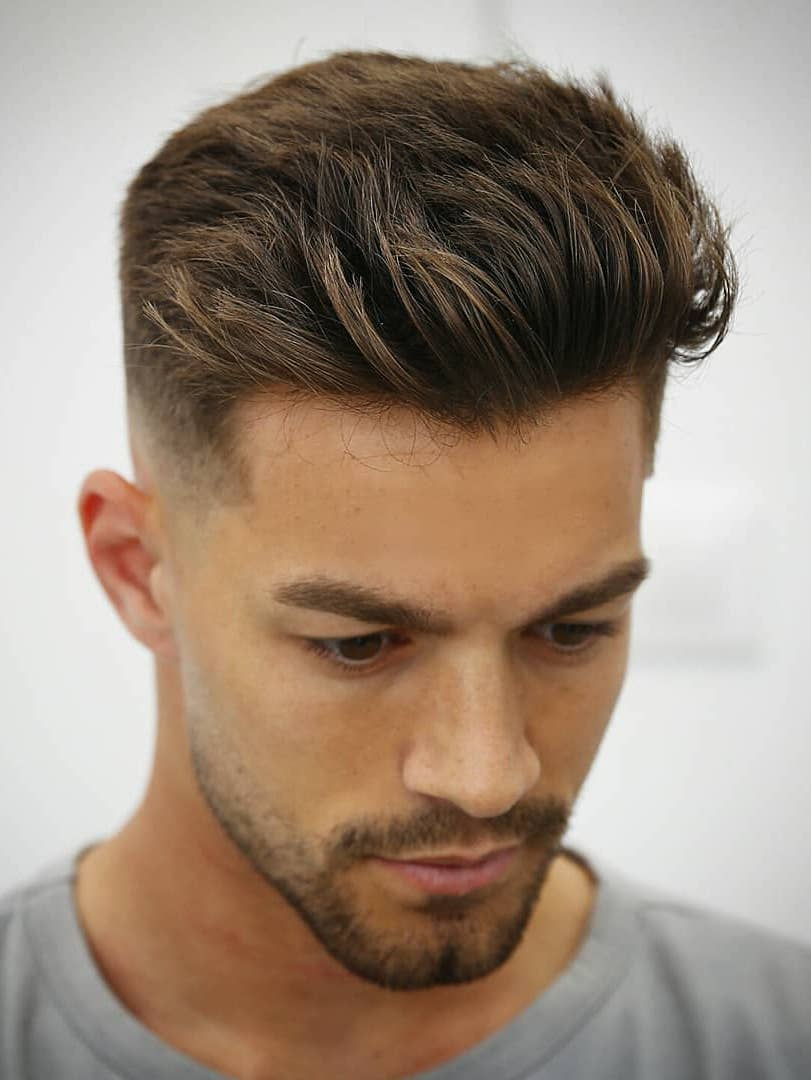 Neat Pushed Back Quiff with Faded Sides