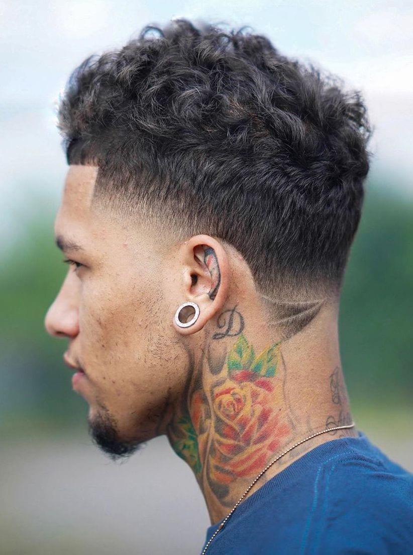 Neat Temple Fade with Curly Top